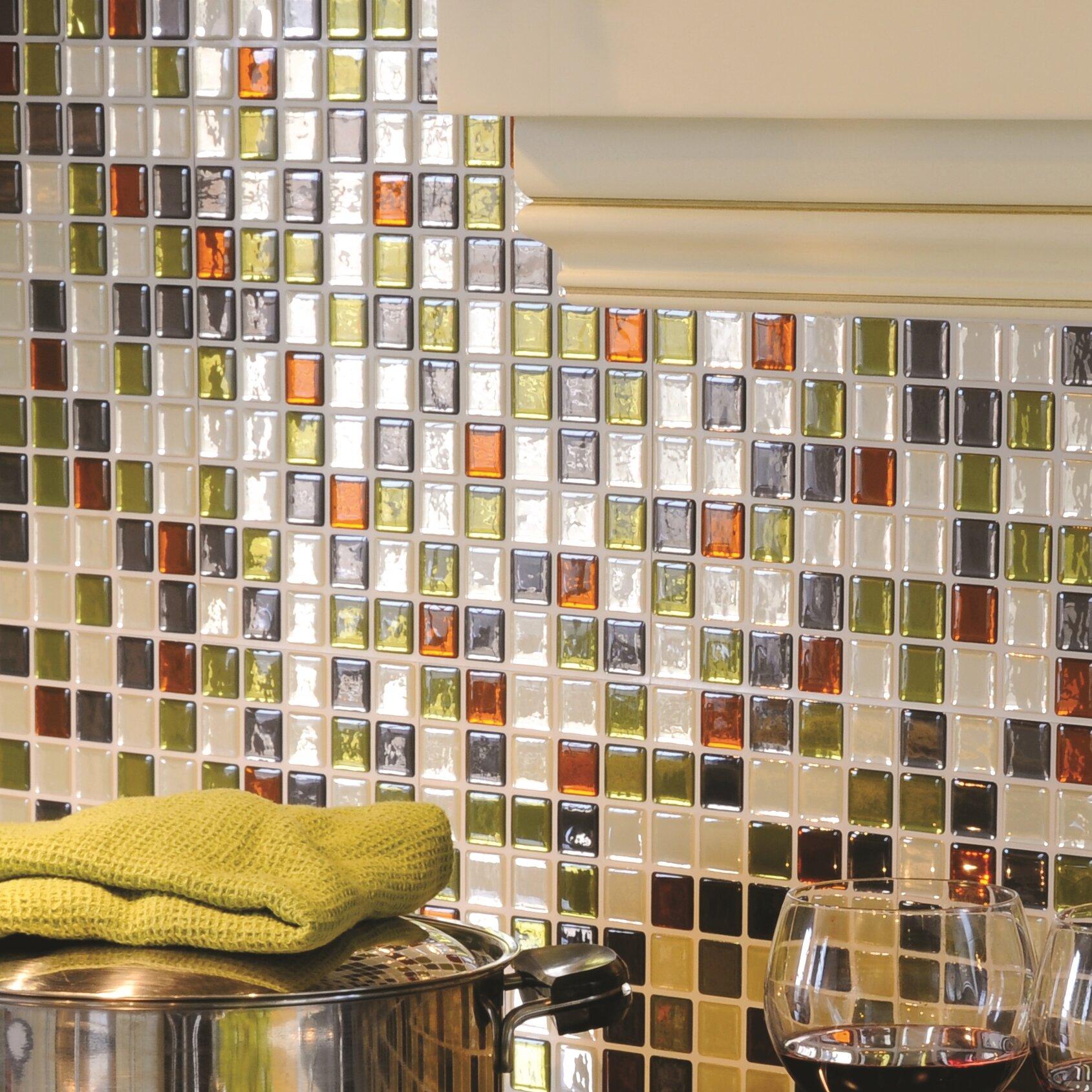 smart tiles mosaik idaho x peel stick wall tile in beige green rust reviews. Black Bedroom Furniture Sets. Home Design Ideas