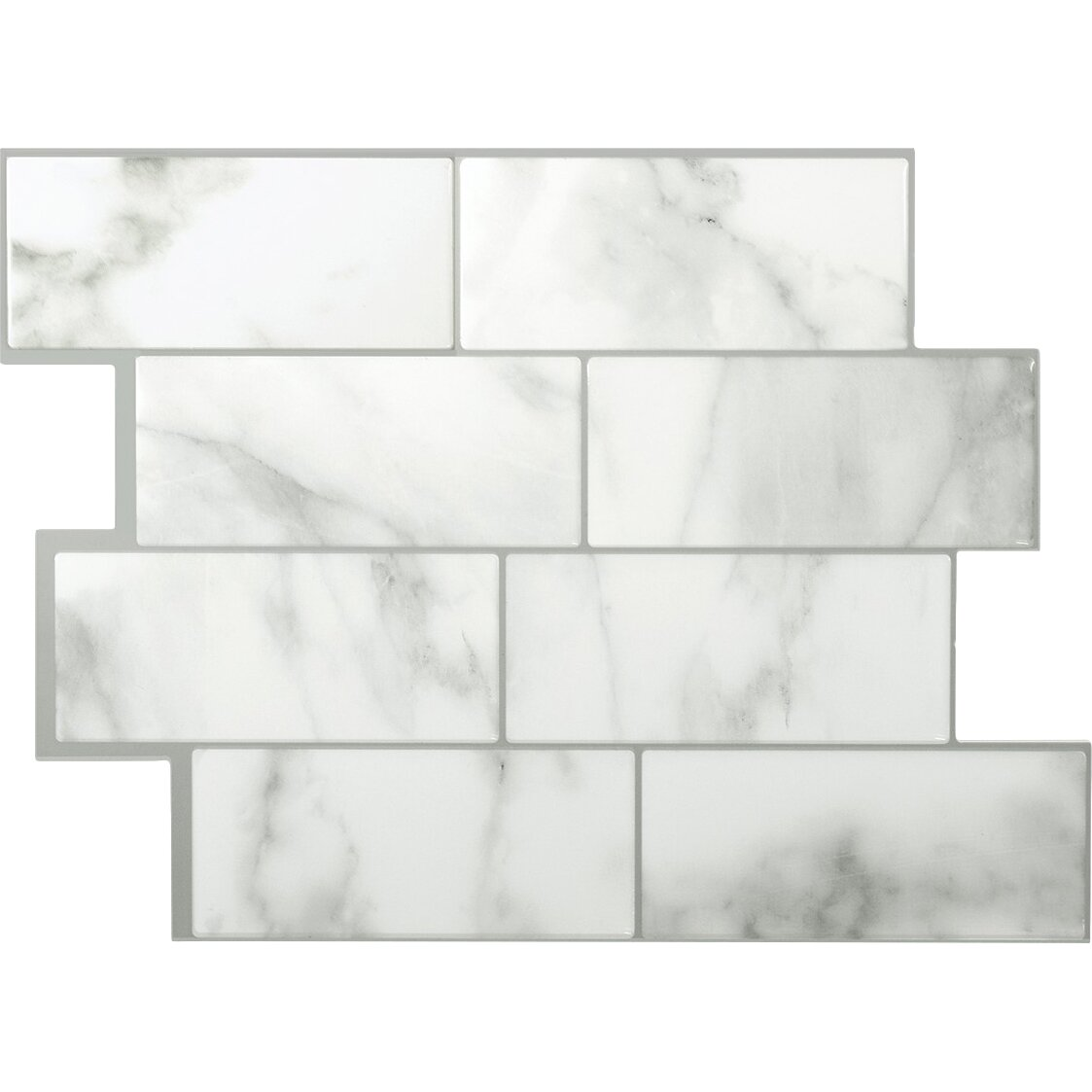 smart tiles mosaik metro carrera x peel stick wall tile in white and gray. Black Bedroom Furniture Sets. Home Design Ideas