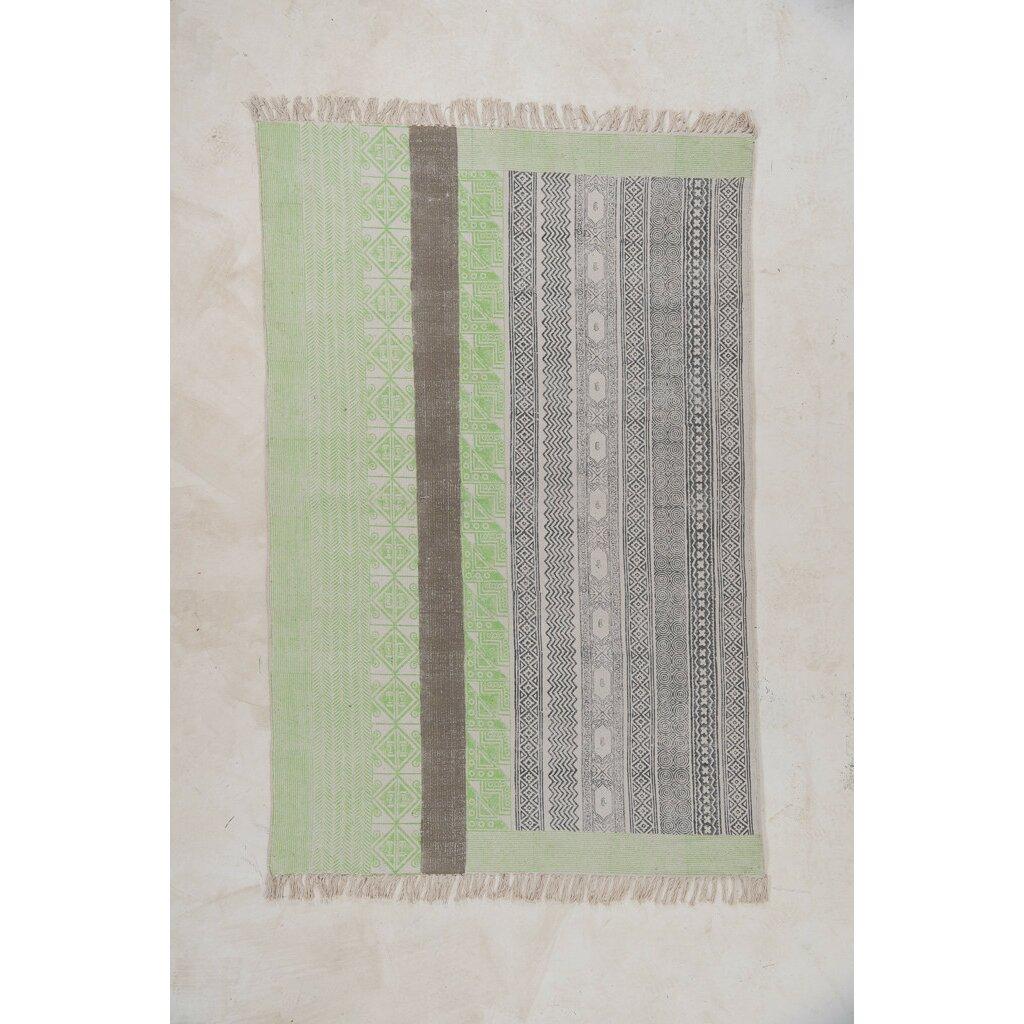 Ian Snow Handgewebter Teppich in Lindgrün und Grau