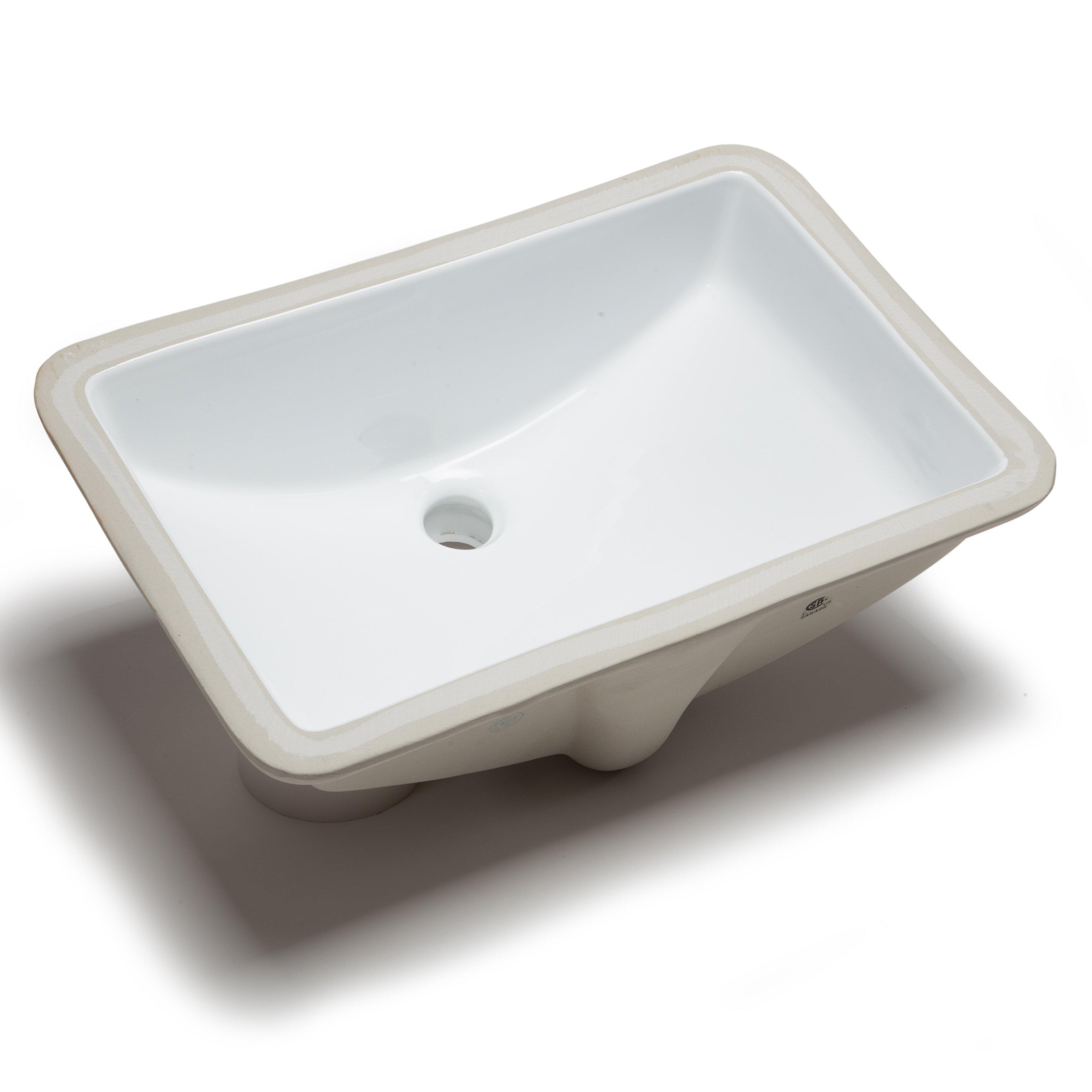 Hahn ceramic bowl rectangular undermount bathroom sink with overflow reviews wayfair Undermount bathroom sink bowl