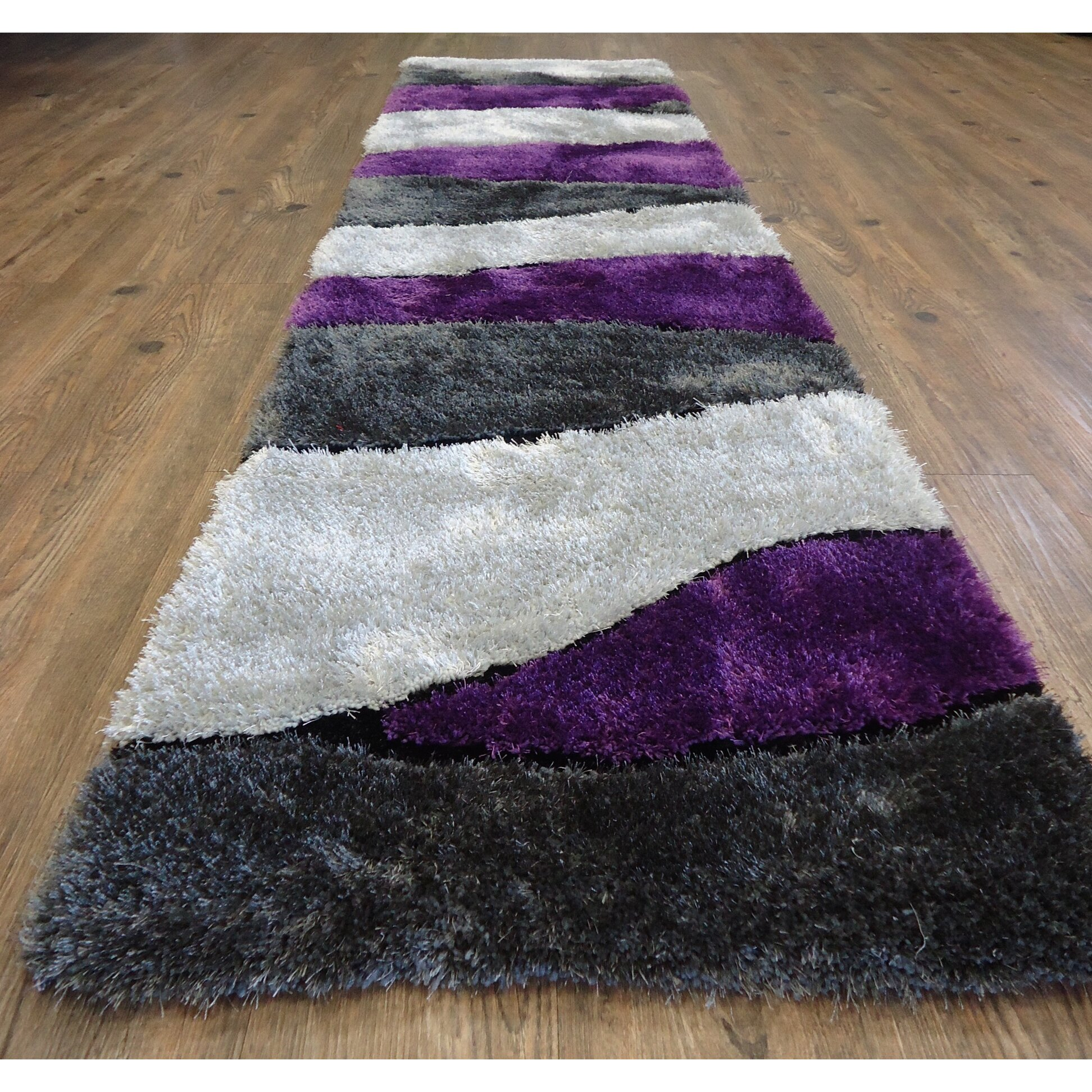 Purple And Gray Area Rugs: Rug Factory Plus Living Shag Hand-Tufted Gray/Purple Area
