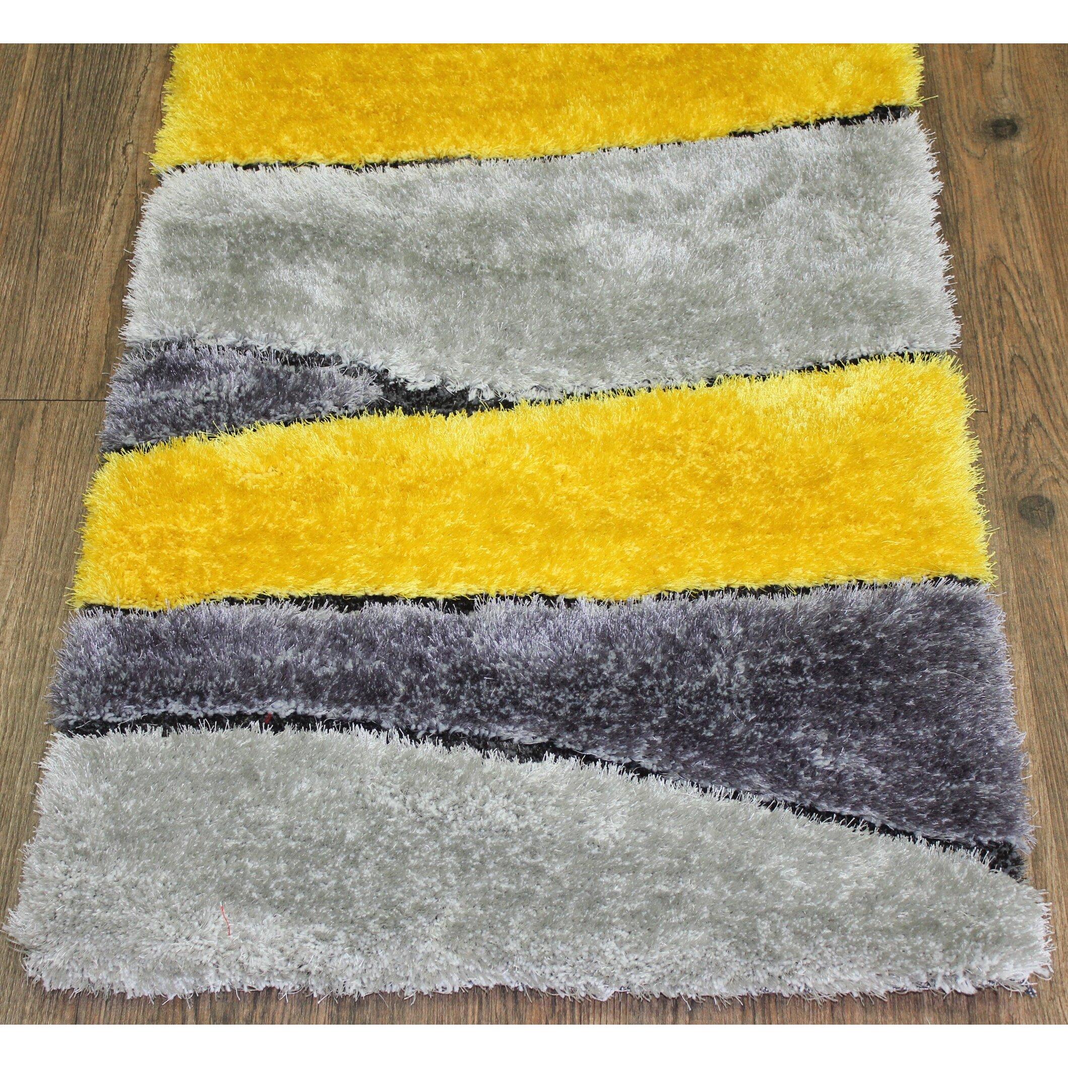 rug factory plus living shag hand tufted gray yellow area rug wayfair. Black Bedroom Furniture Sets. Home Design Ideas
