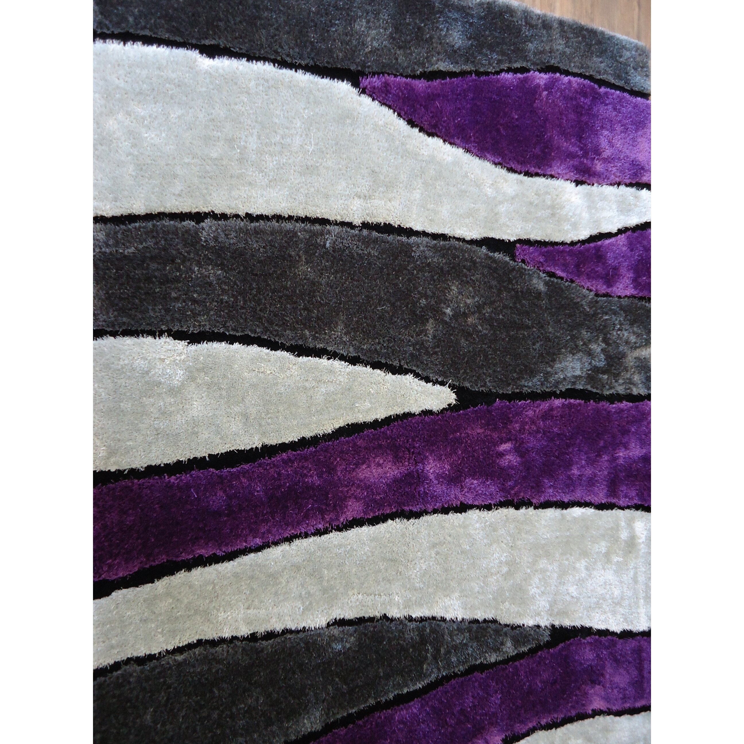 Purple Rug: Rug Factory Plus Hand-Tufted Gray/Purple Area Rug
