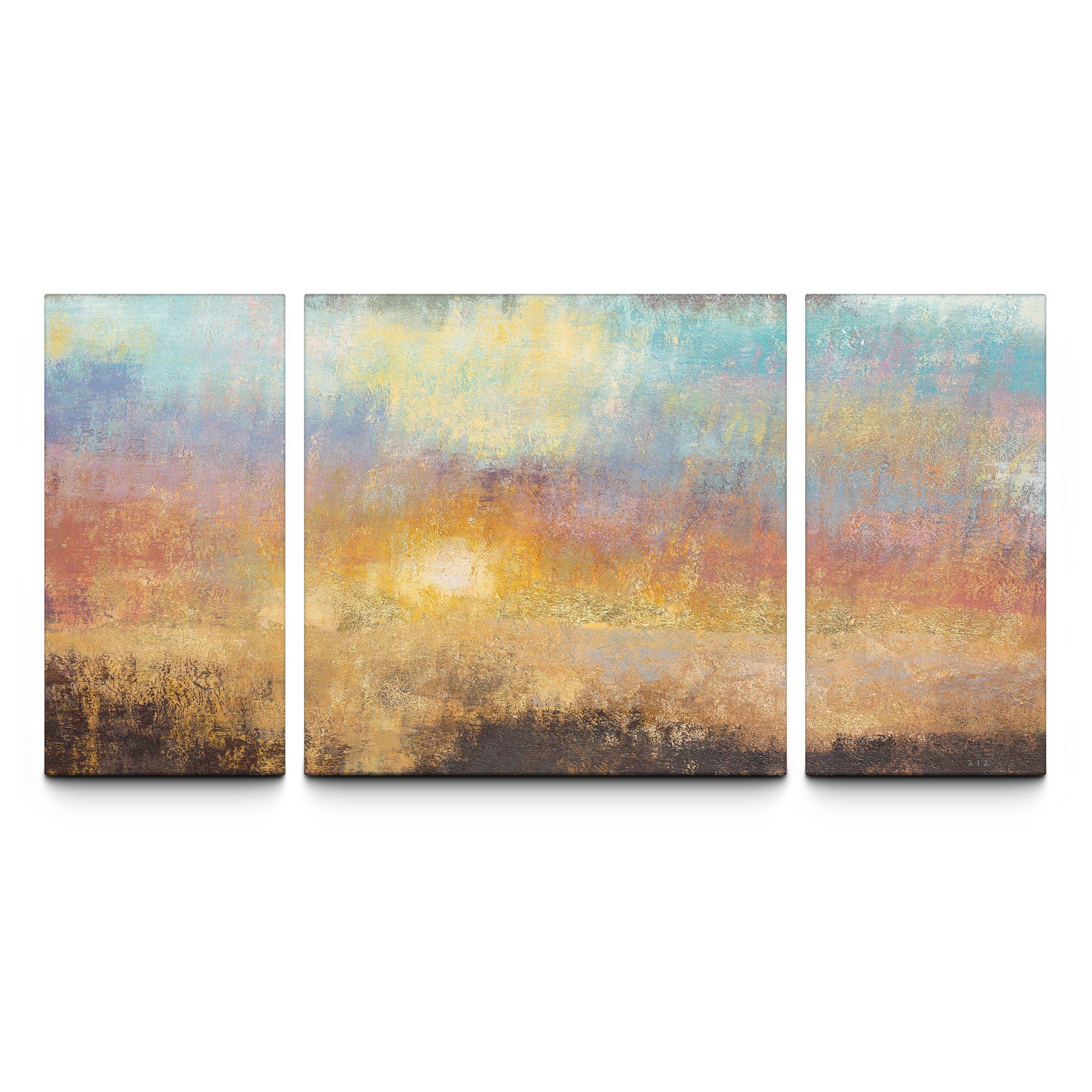 Artefx Decor Paradise Sunset Textured Triptych By Studio 212 3 Piece Painting Print On Canvas