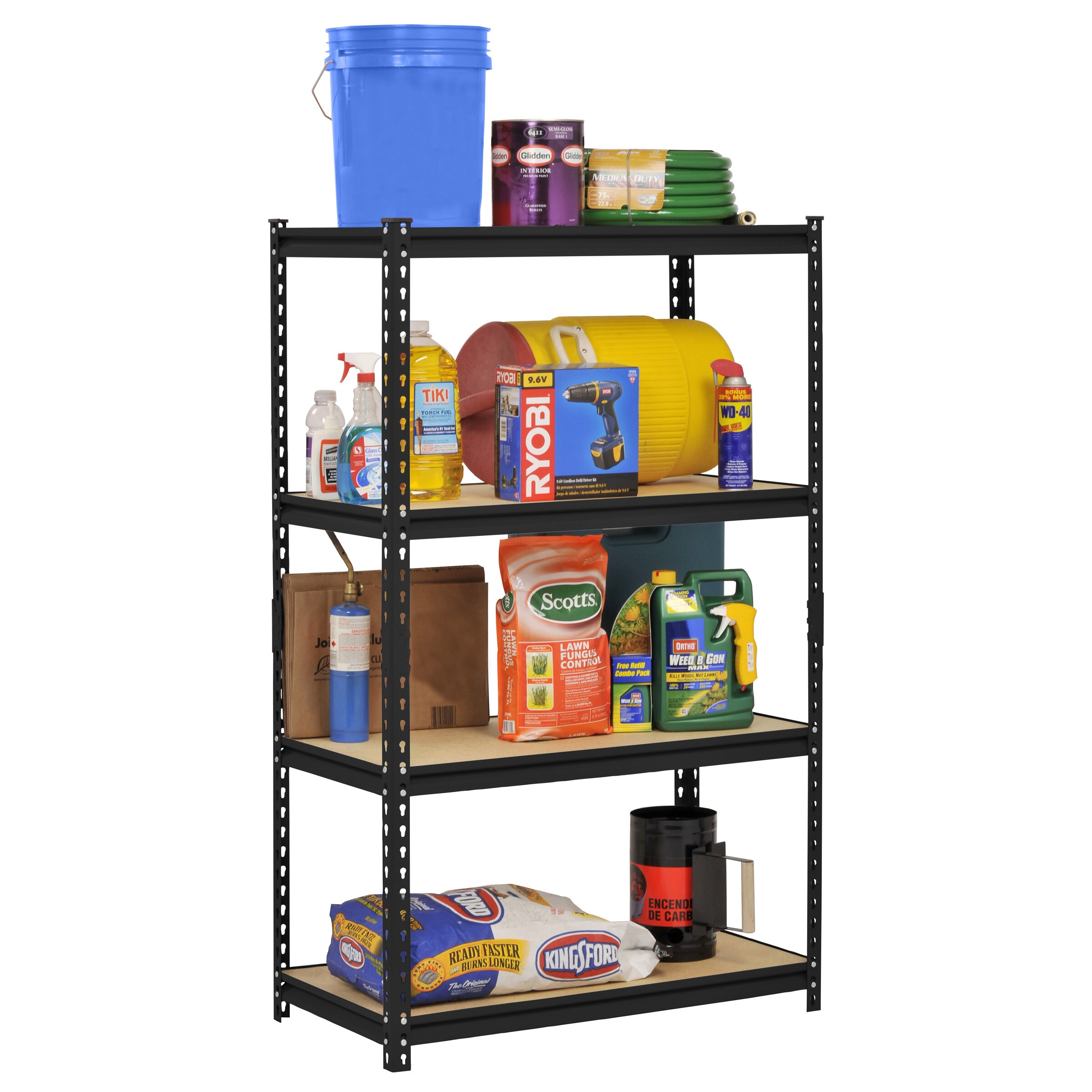 edsal sandusky 60 h steel four shelf heavy duty shelving. Black Bedroom Furniture Sets. Home Design Ideas