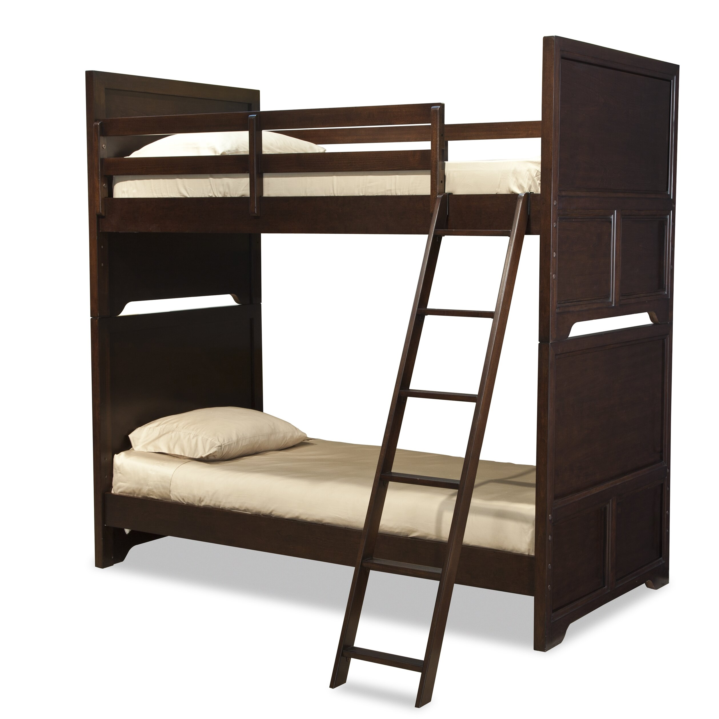 Lc kids benchmark twin over twin standard bunk bed with underbed storage drawer wayfair - Kids twin beds with storage drawers ...