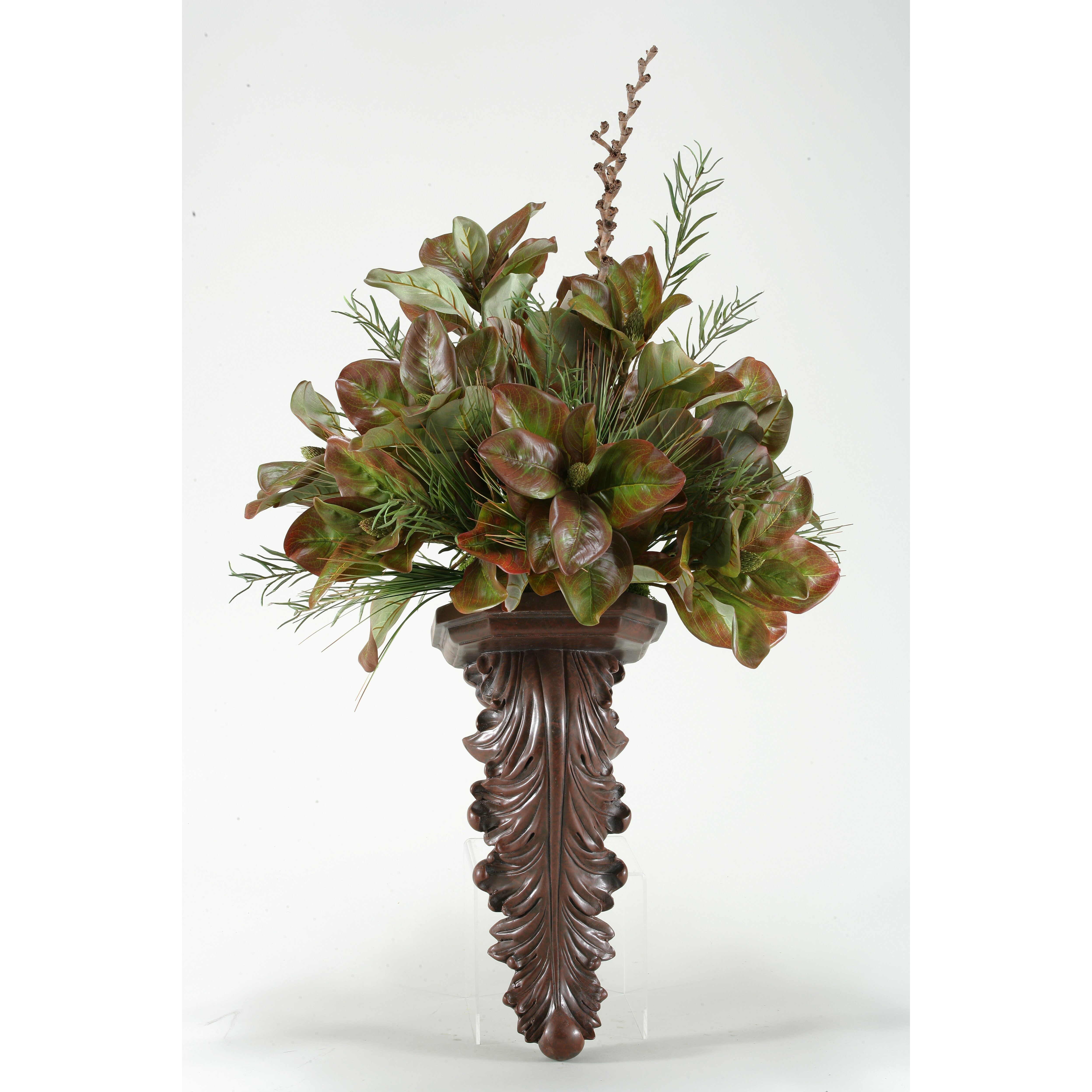 D & W Silks Magnolia Foliage with Willow and Onion Grass Wall Plant in Sconce Wayfair