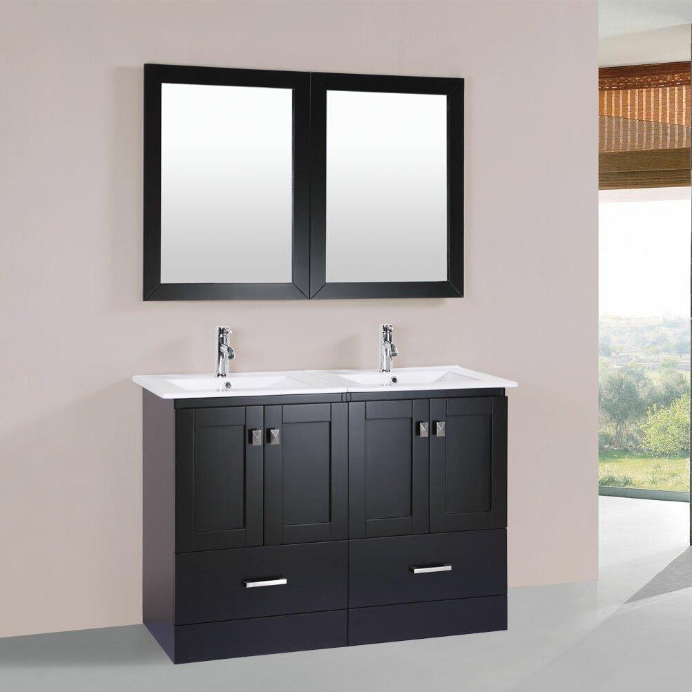 Pacificcollection redondo 48 double modern bathroom for Bathroom mirror set