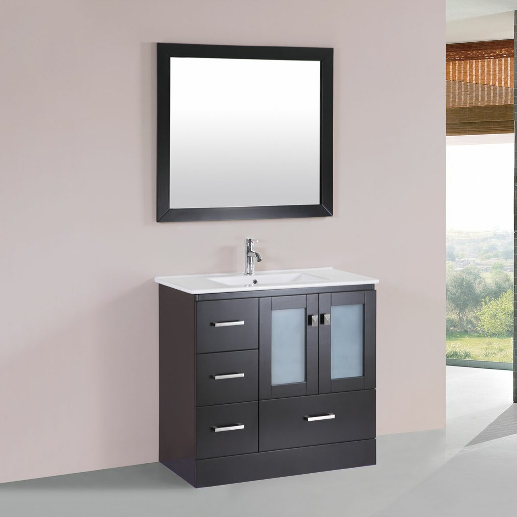 bathroom left side cabinet vanity set with mirror by pacificcollection