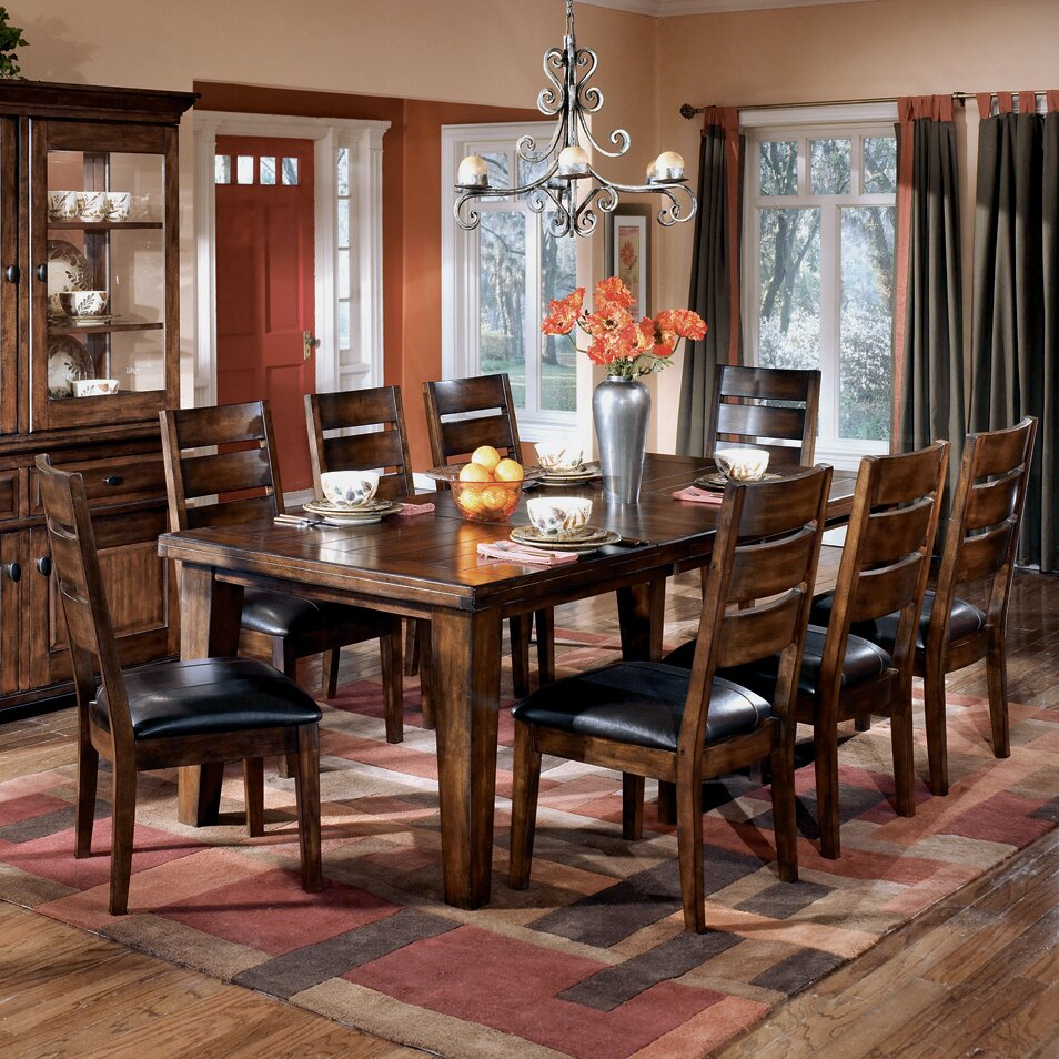 Red barrel studio kibbe extendable dining table reviews for Ashley furniture dining room table