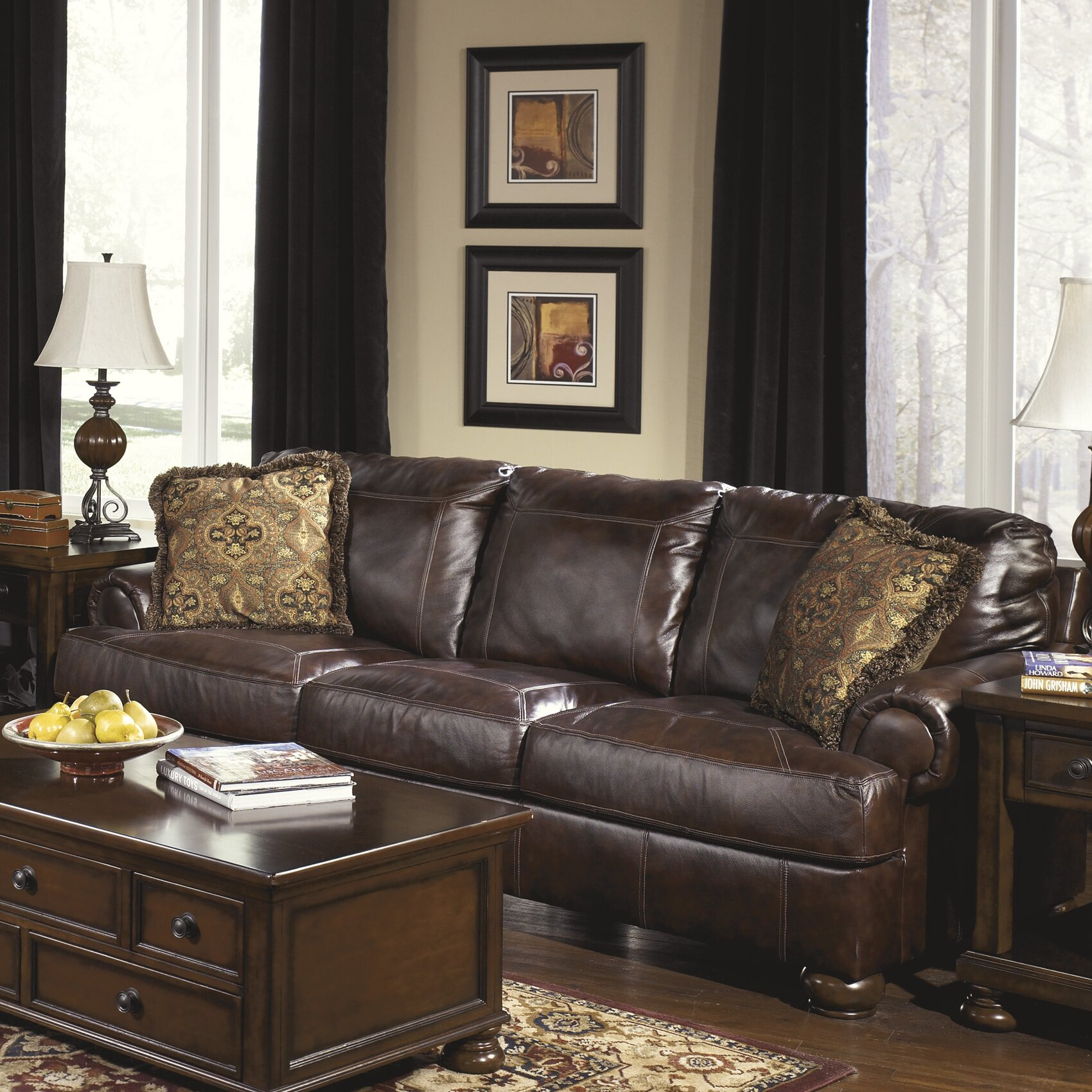 Ashley Leather Sofa: Signature Design By Ashley Heath Leather Sofa & Reviews