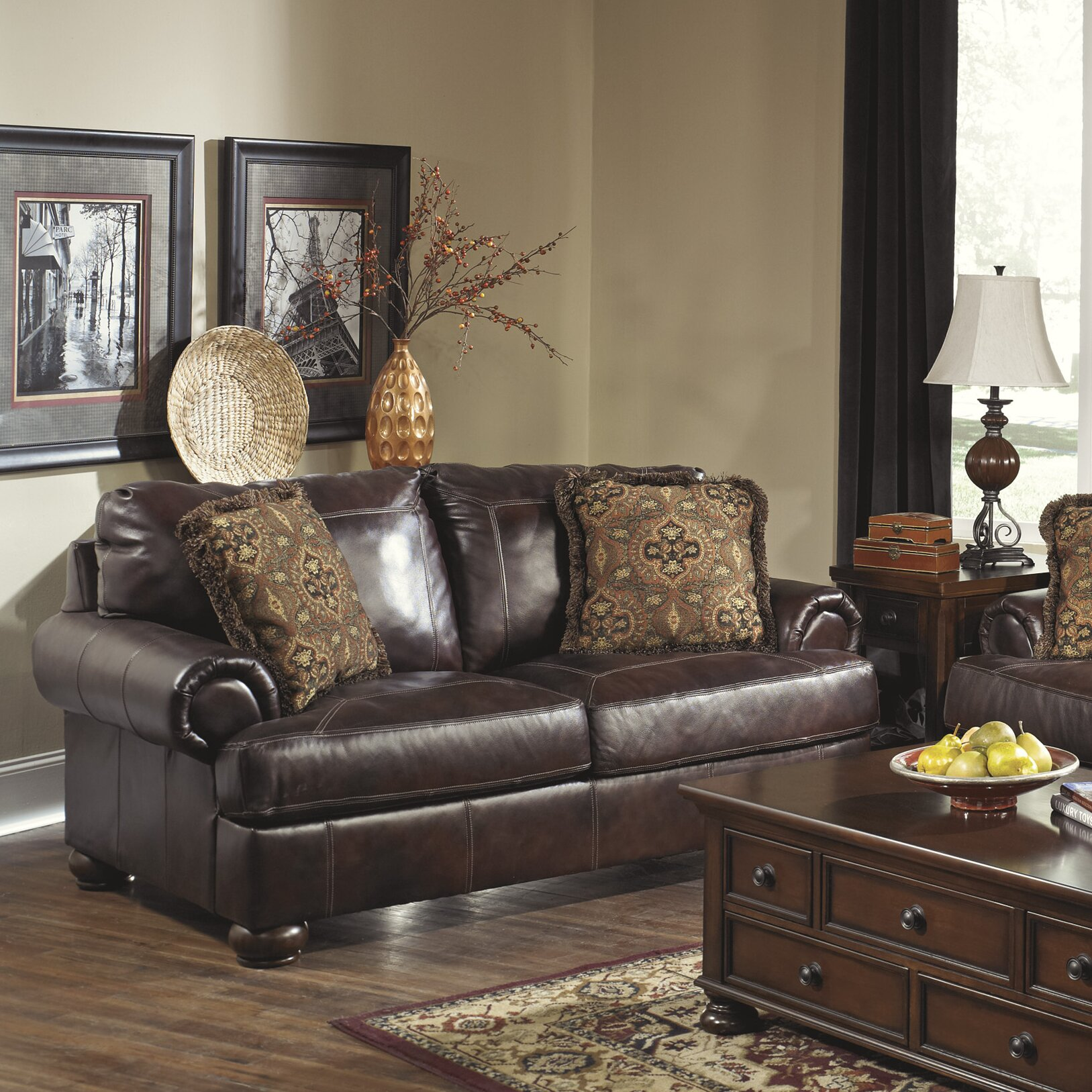 Signature Design By Ashley Heath Leather Loveseat
