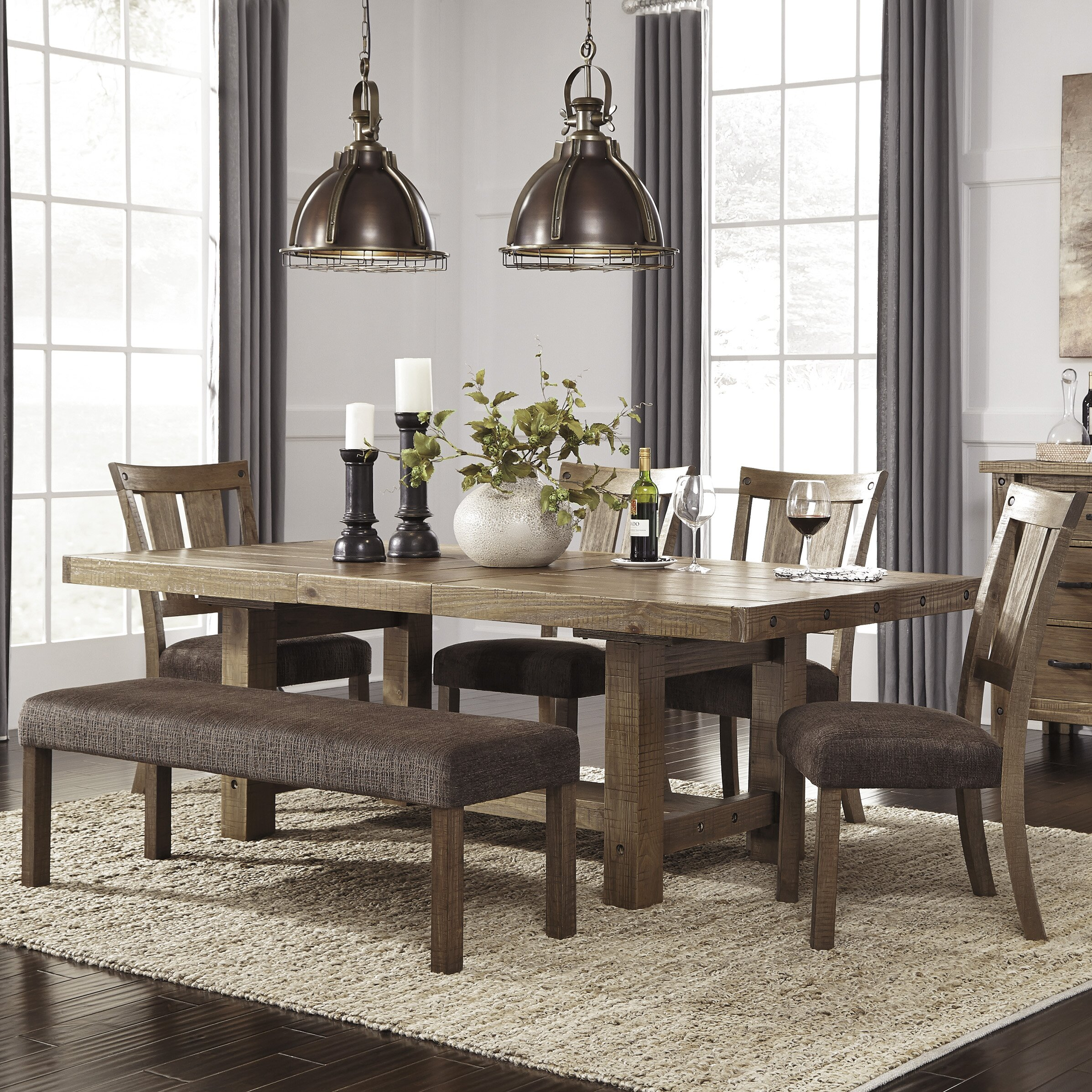 Signature design by ashley 9 piece dining set reviews for Photos of dining room sets