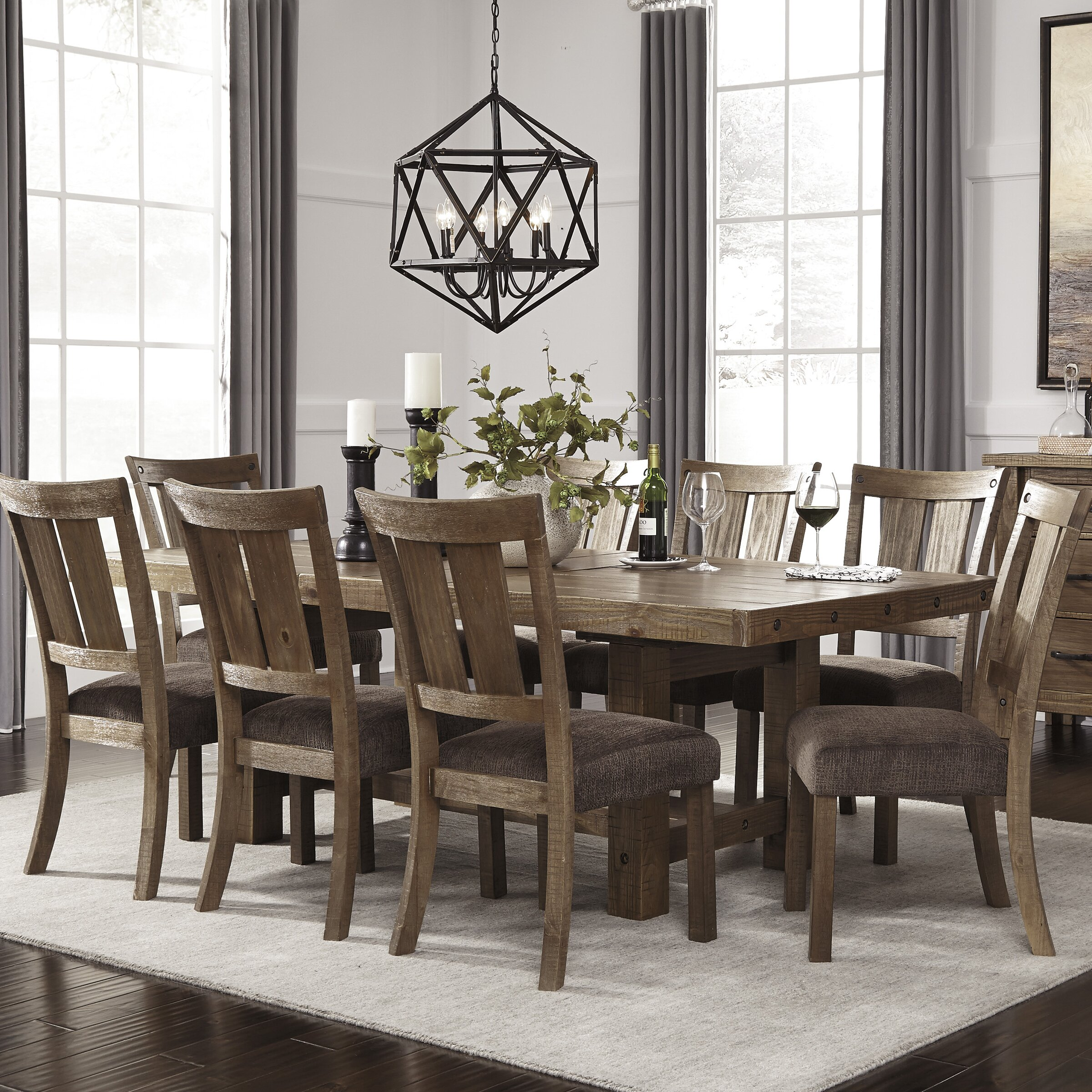 Signature design by ashley 9 piece dining set reviews for Farmhouse style dining set