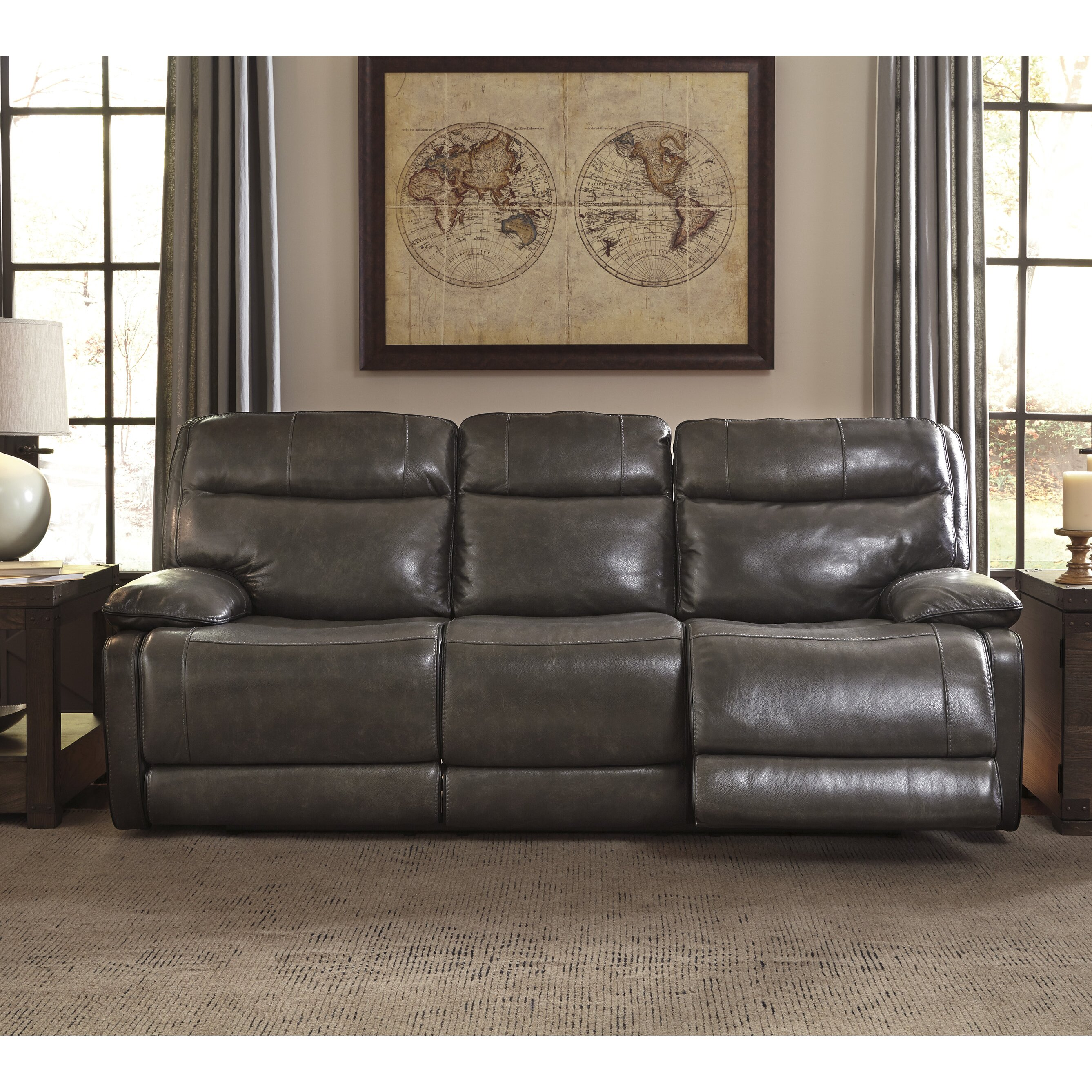 Signature design by ashley leather reclining sofa wayfair for Ashley leather sofa