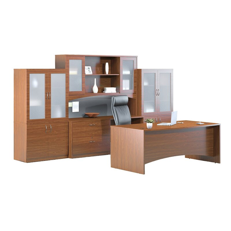 Mayline Brighton 7 Piece Series Standard Desk Office Suite