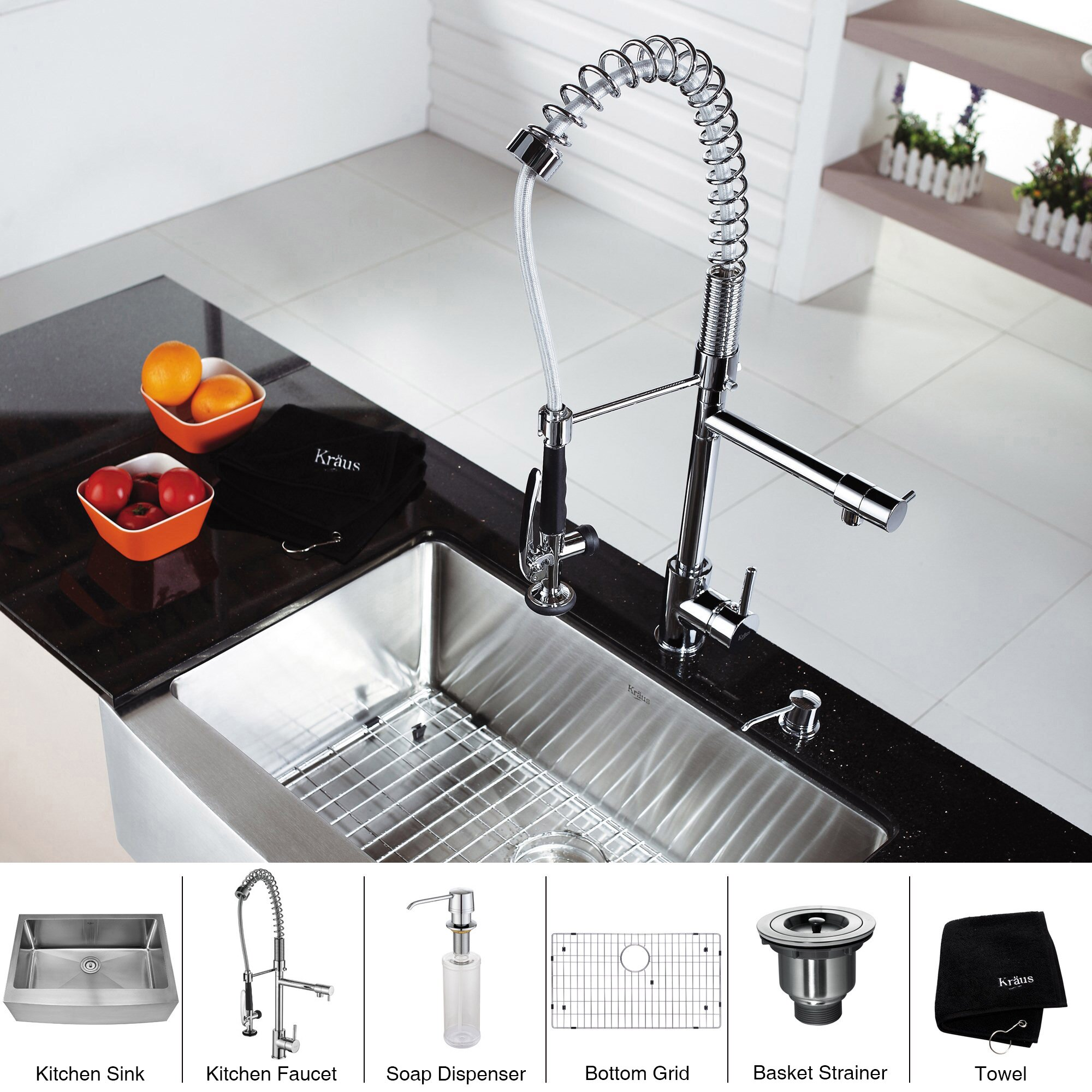 "Kraus 29.75"" X 20.75"" Farmhouse Kitchen Sink With Faucet"
