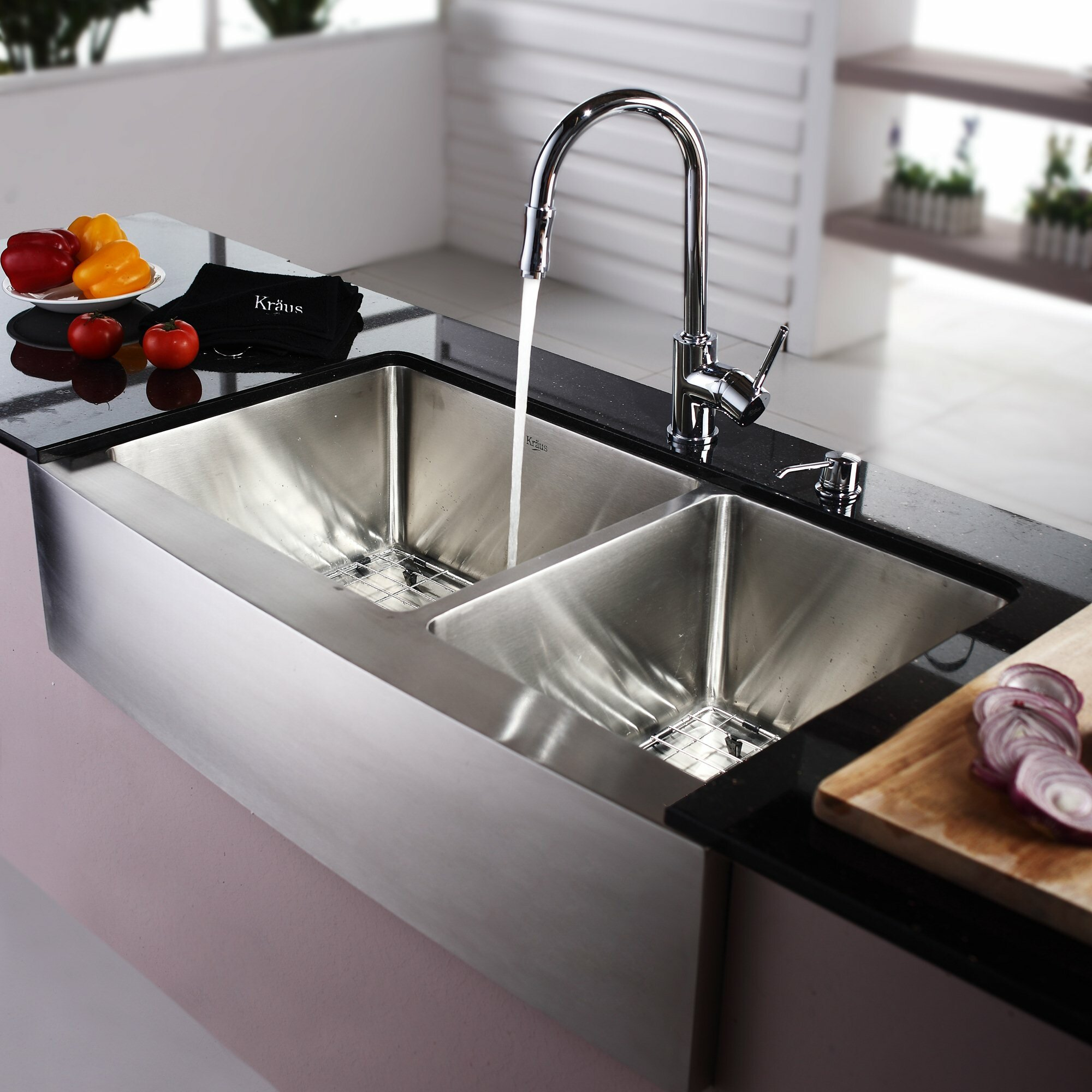 """25 Farm Sink Of Kitchen Lowes Double Chrome Kitchen Sink: Kraus 35.88"""" X 20.75"""" Farmhouse Double Bowl Kitchen Sink"""