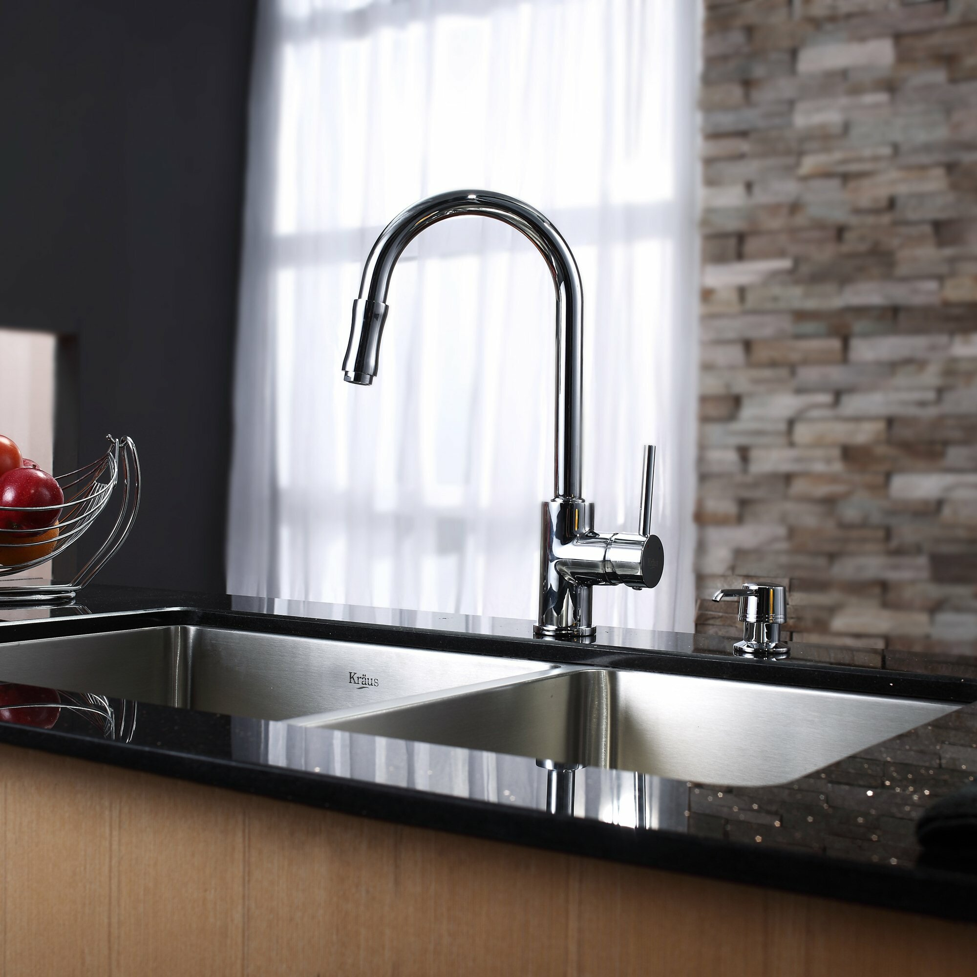 kraus undermount 70 30 double bowl kitchen sink with faucet and soap dispenser reviews wayfair. Black Bedroom Furniture Sets. Home Design Ideas