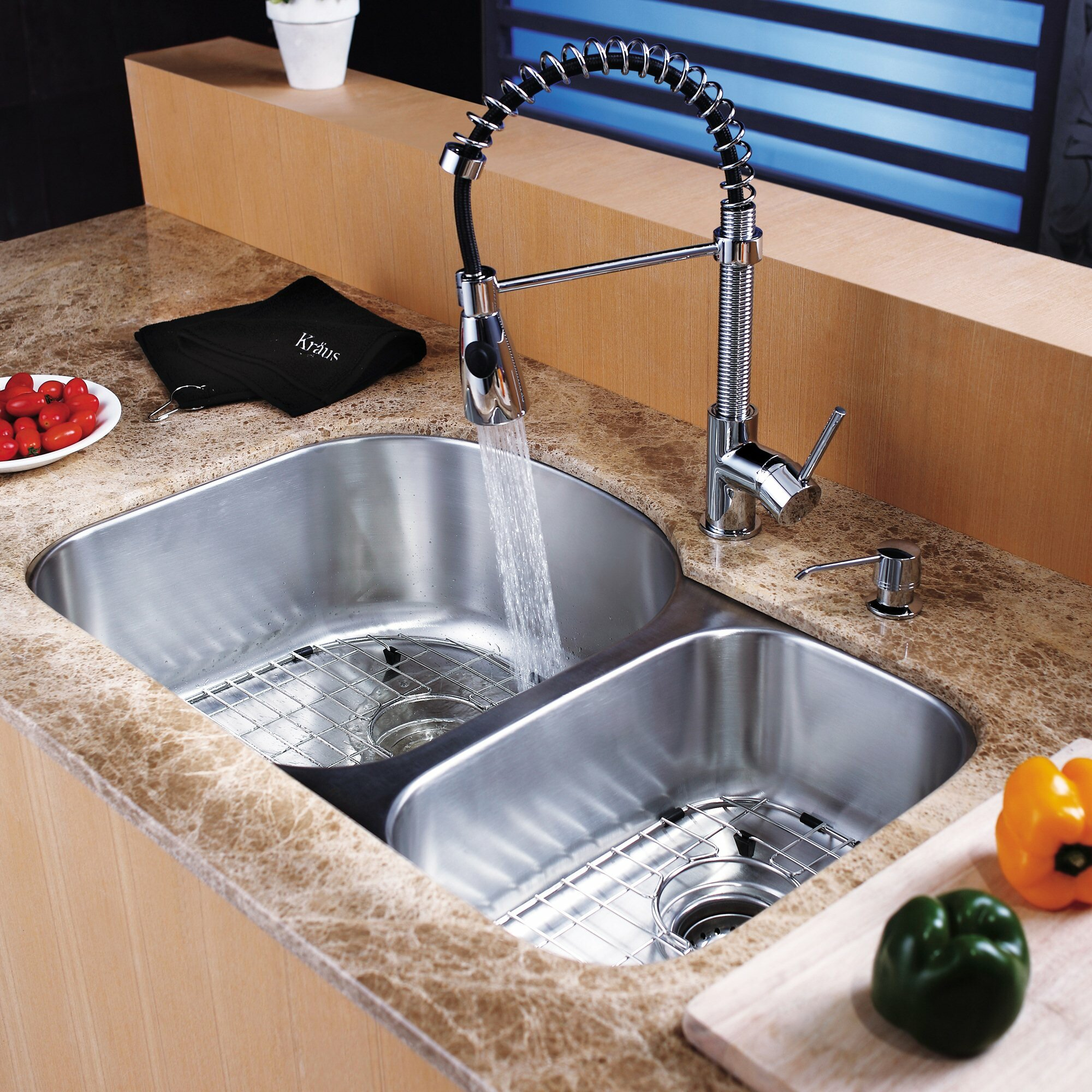 Kraus 8 Piece Undermount Double Bowl Kitchen Sink Set & Reviews ...