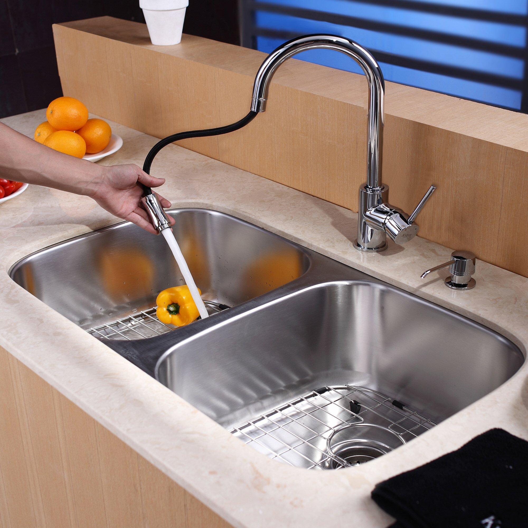 Kraus 8 Piece Undermount Double Bowl Kitchen Sink Set & Reviews ...