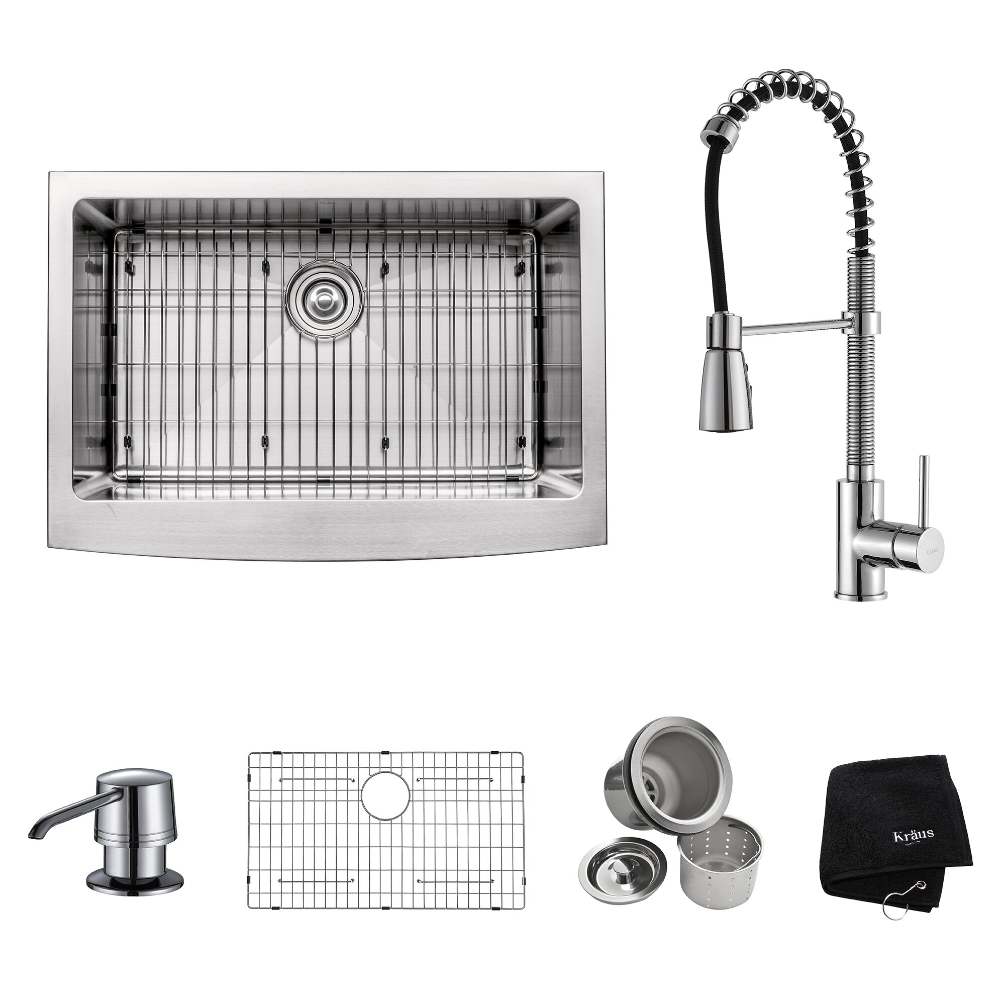 kraus kraus 30 farmhouse stainless steel x 20 kitchen sink with faucet and soap. Black Bedroom Furniture Sets. Home Design Ideas