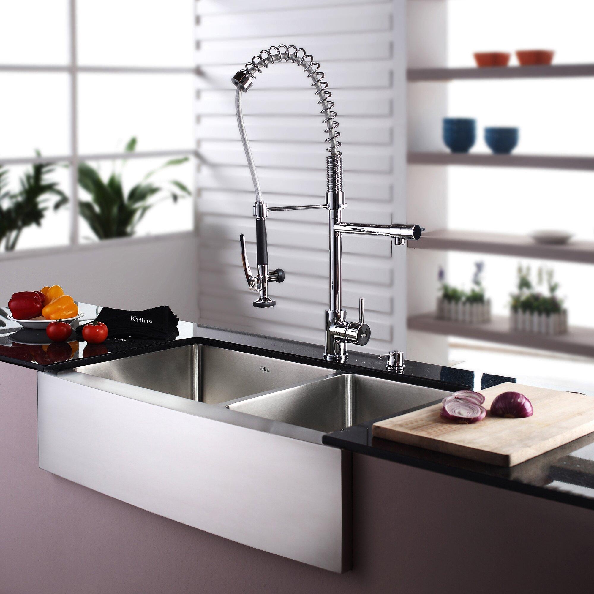 Kraus 35 9 x 8 piece farmhouse double bowl kitchen - Kitchen sink pieces ...