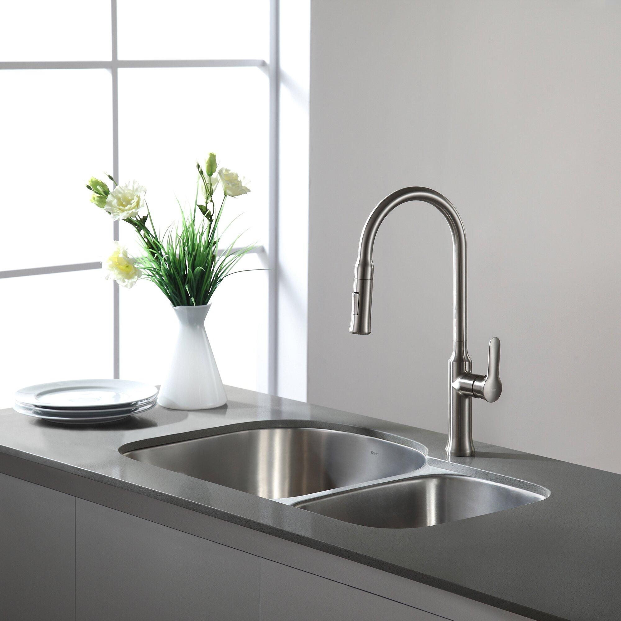 Kraus x 6 piece undermount 55 45 double bowl - Kitchen sink pieces ...