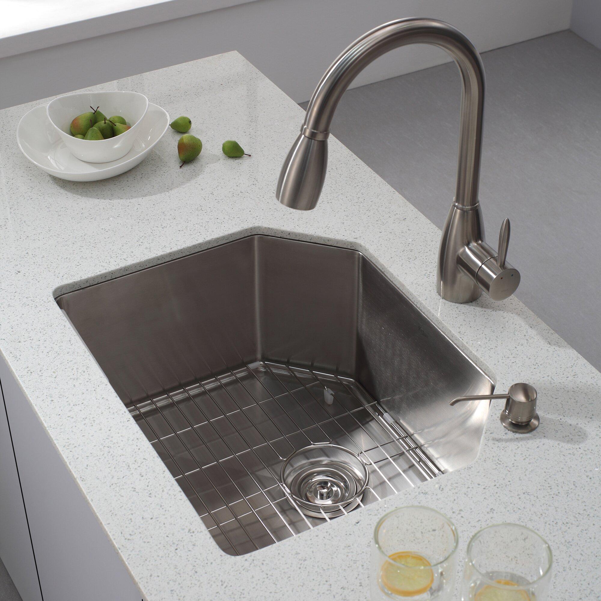 Kraus x 4 piece undermount single bowl - Kitchen sink pieces ...