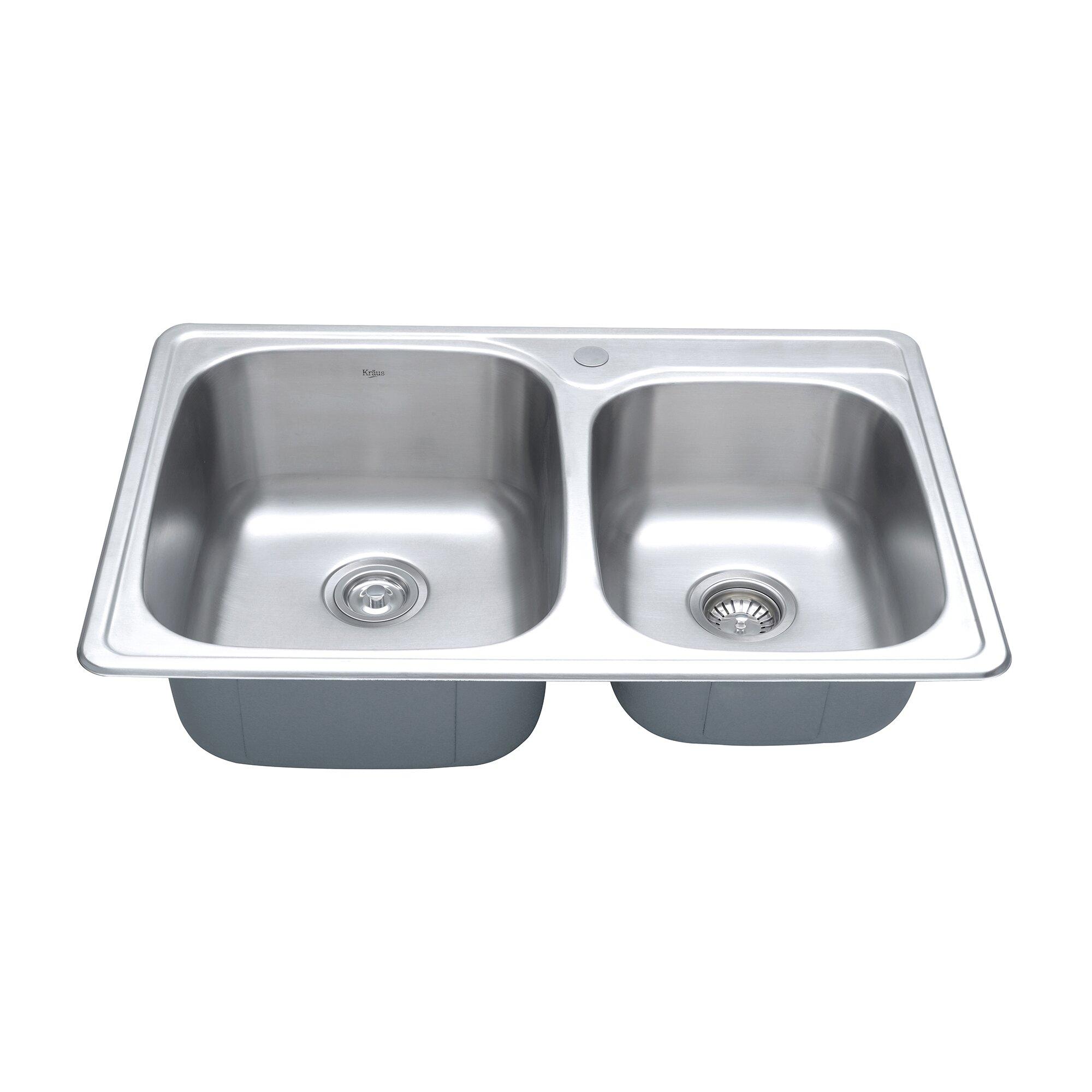 Kraus 33 x 22 4 piece topmount 60 40 double bowl kitchen - Kitchen sink pieces ...
