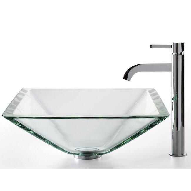 Kraus Square Aquamarine Glass Sink and Ramus Faucet & Reviews ...