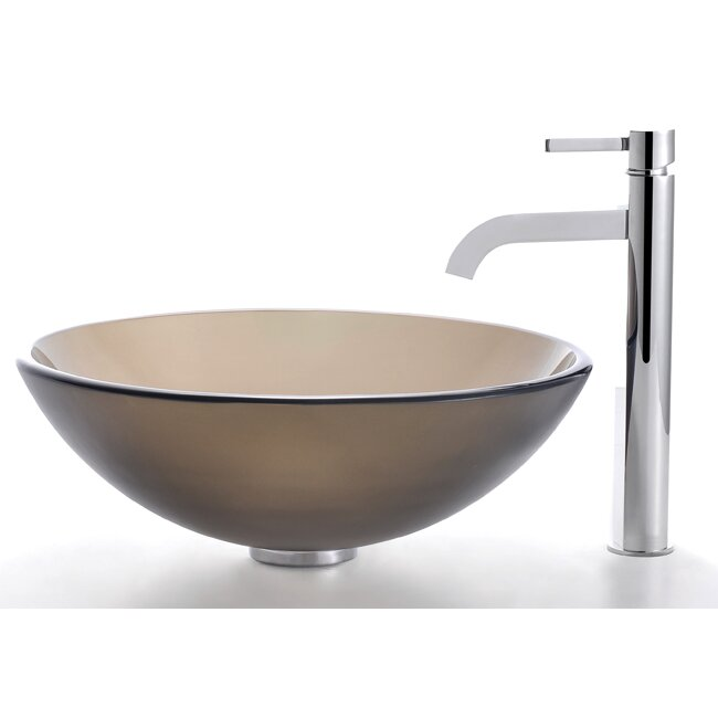 Kraus Clear Brown Glass Vessel Sink and Ramus Faucet & Reviews ...