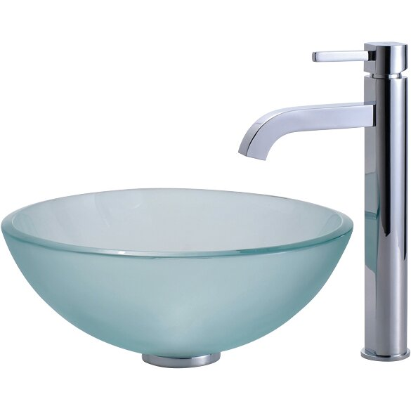 Kraus Frosted Glass Vessel Sink And Ramus Faucet Reviews Wayfair