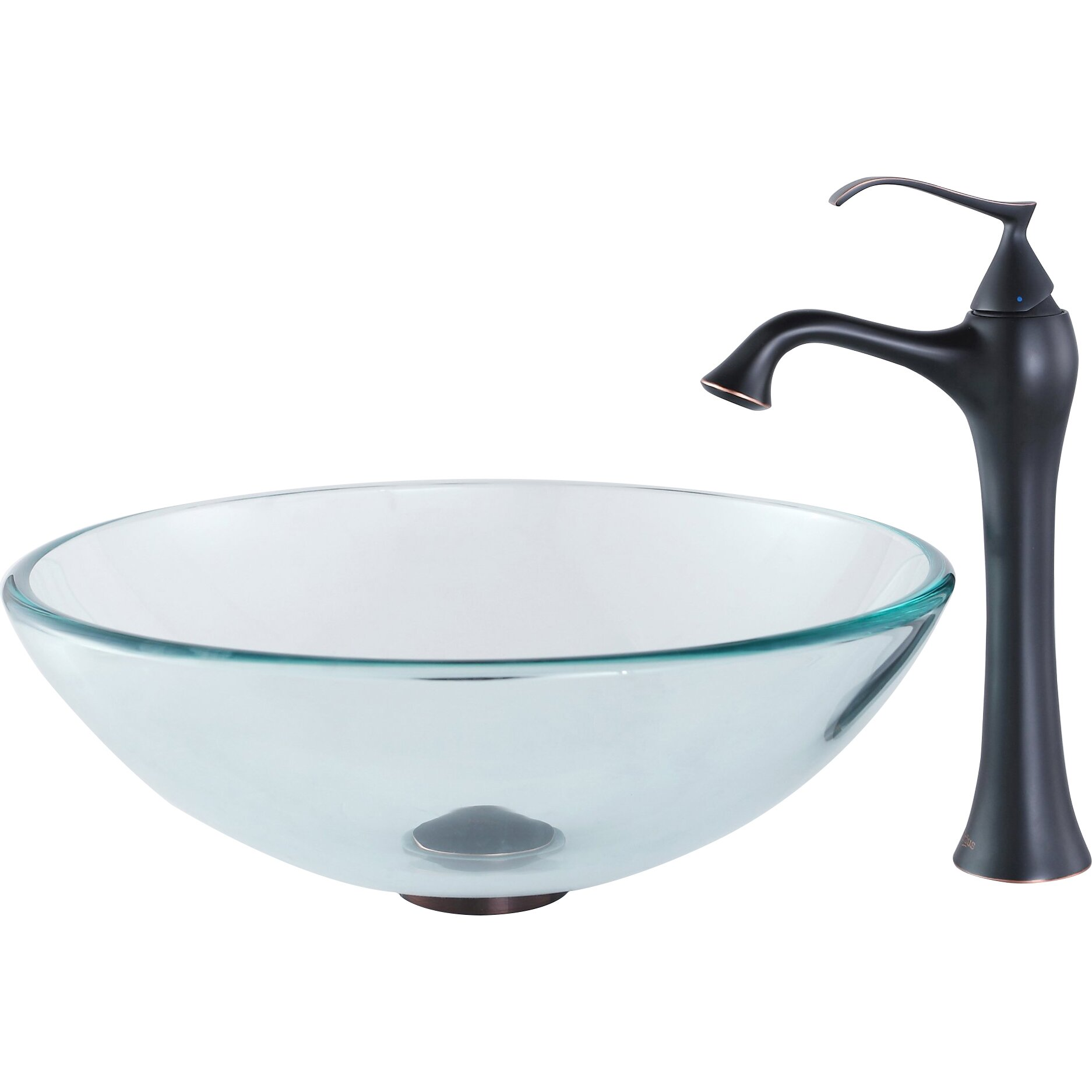 Single Hole Vessel Sink Faucet : Kraus Glass Vessel Bathroom Sink with Single Handle Single Hole Faucet ...