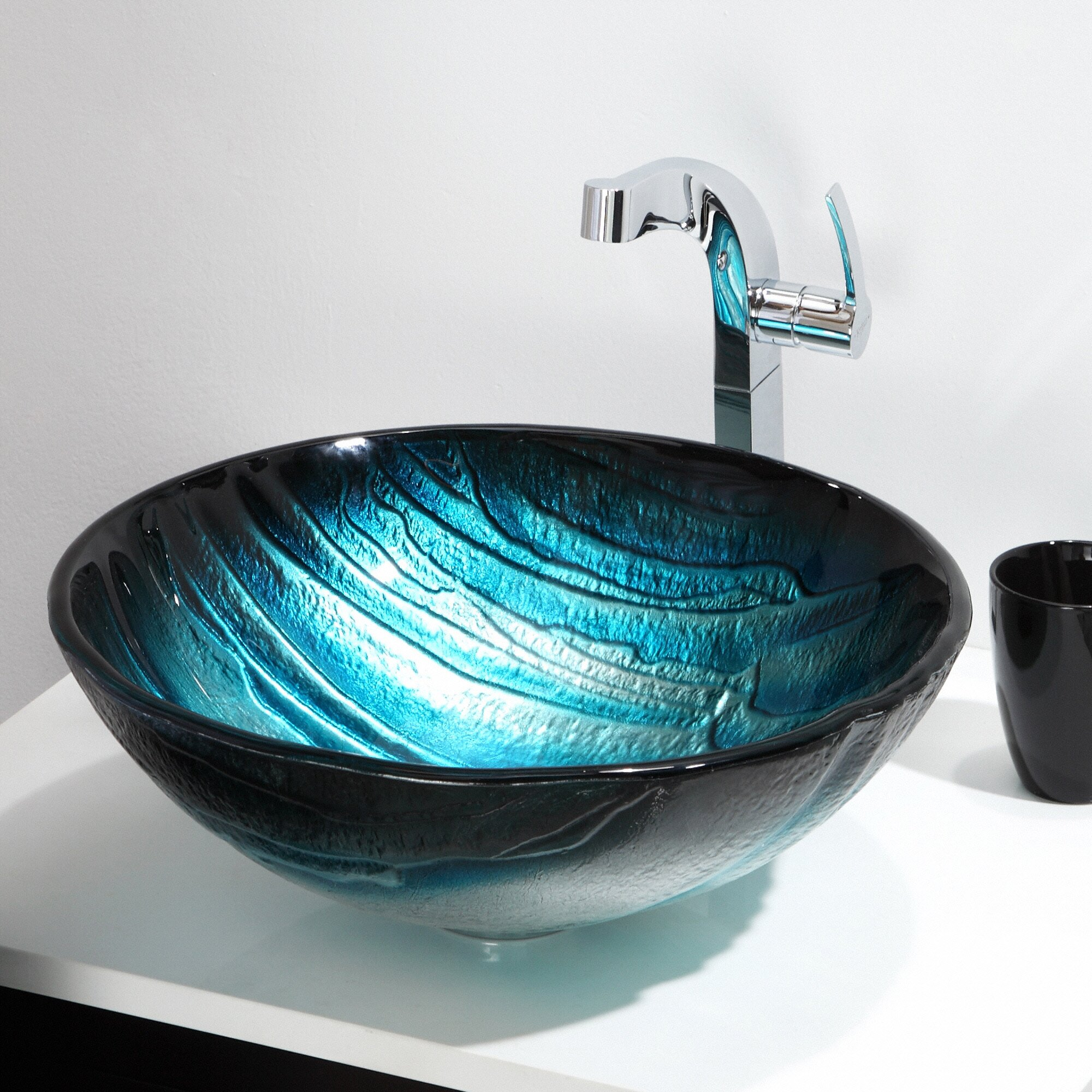 kraus ladon glass vessel sink reviews wayfair. Black Bedroom Furniture Sets. Home Design Ideas