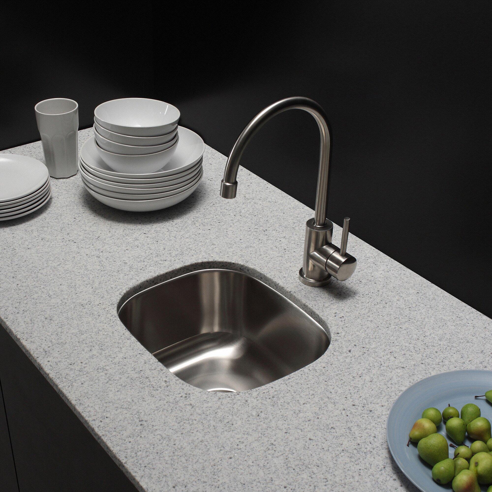 Kraus 18 x 15 3 piece undermount single bowl kitchen - Kitchen sink pieces ...