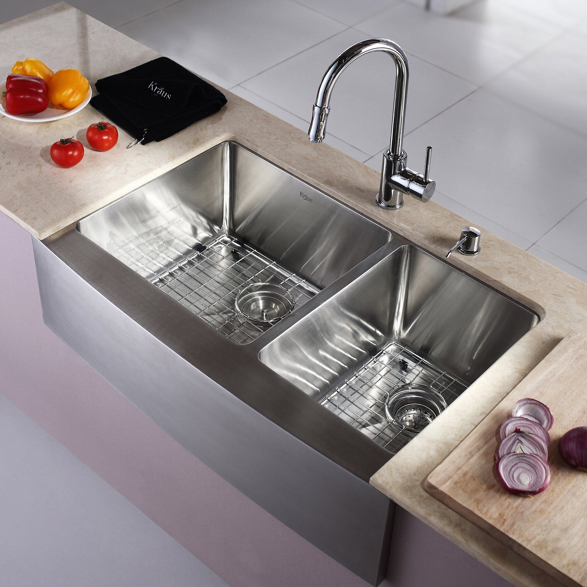 Kraus  In Double Kitchen Sinks