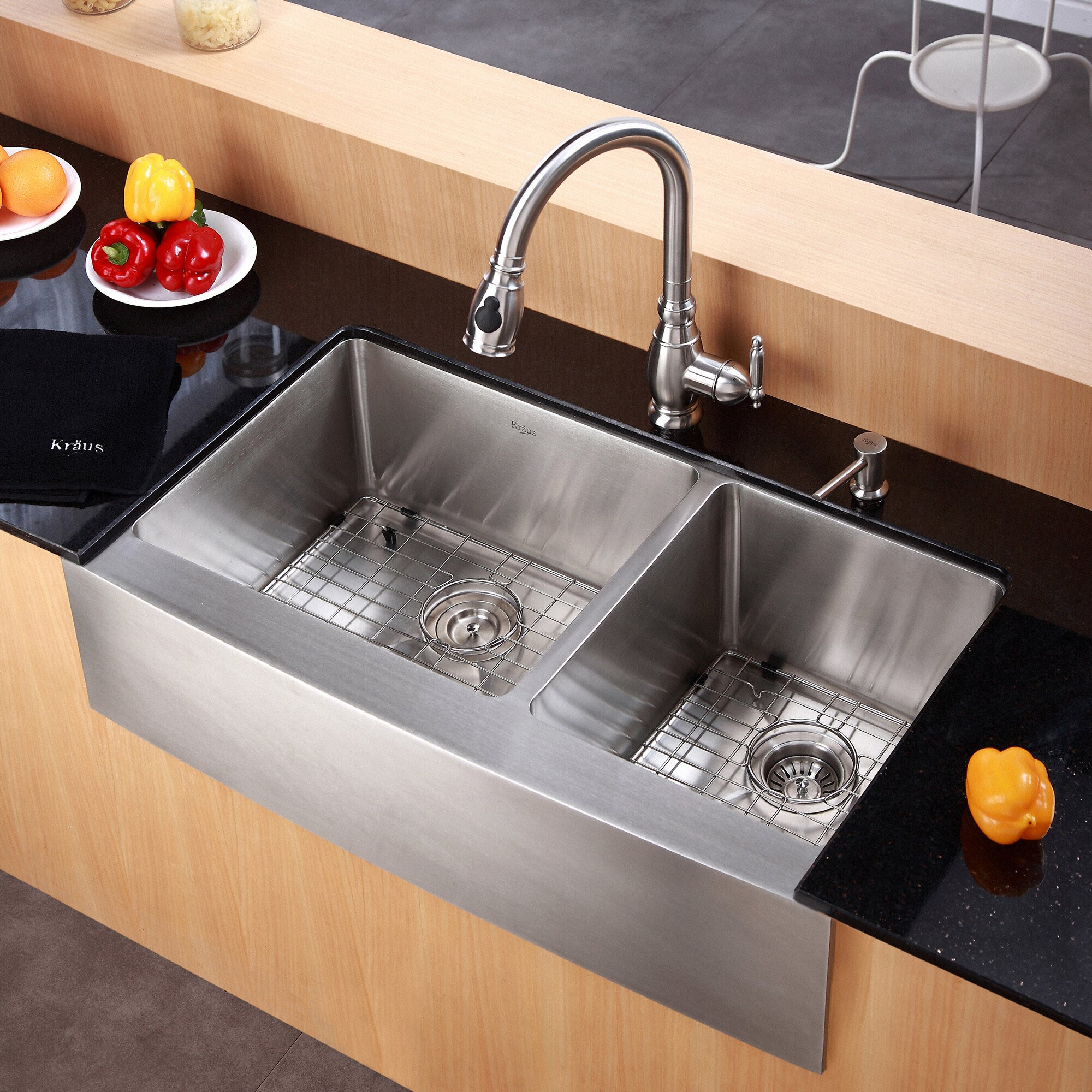 "Kitchen Sink Kraus: Kraus Farmhouse 36"" 60/40 Double Bowl Kitchen Sink"