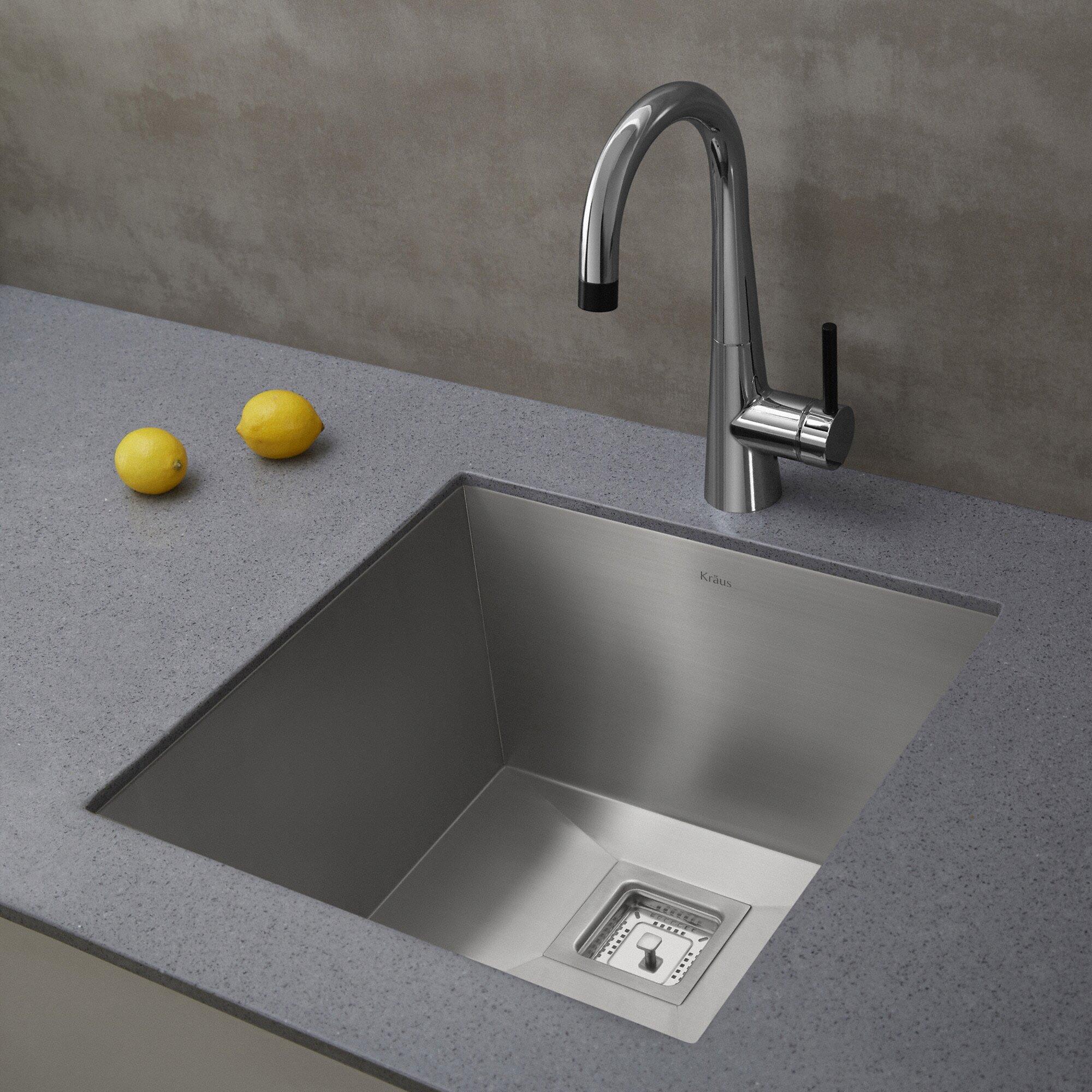 ... Undermount Single Bowl Stainless Steel Bar Sink & Reviews Wayfair