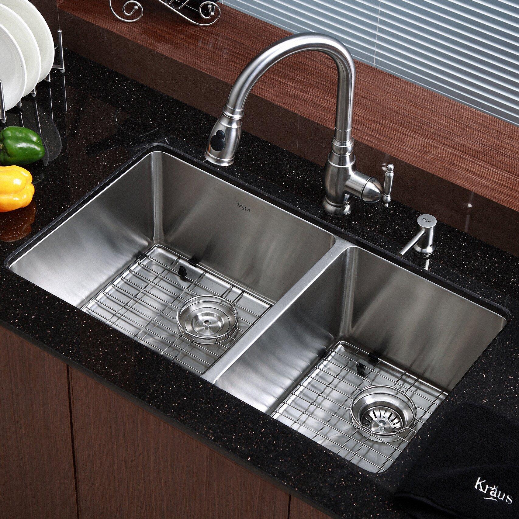 Kraus Kitchen Sink X 19 Double Bowl Undermount Kitchen Sink Reviews Wayfair