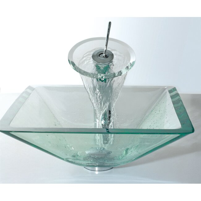 Kraus Glass Combinations Aquamarine Square Vessel Bathroom Sink and ...