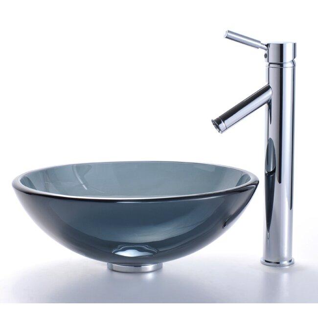 Kraus Clear Black Glass Vessel Bathroom Sink & Sheven Faucet & Review...