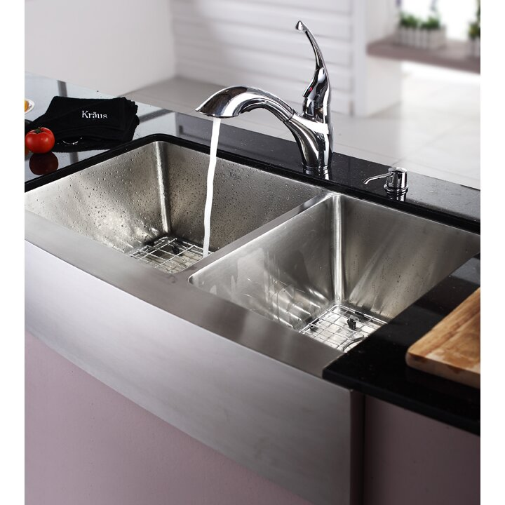 Kraus Farmhouse 36 Quot 60 40 Double Bowl Kitchen Sink