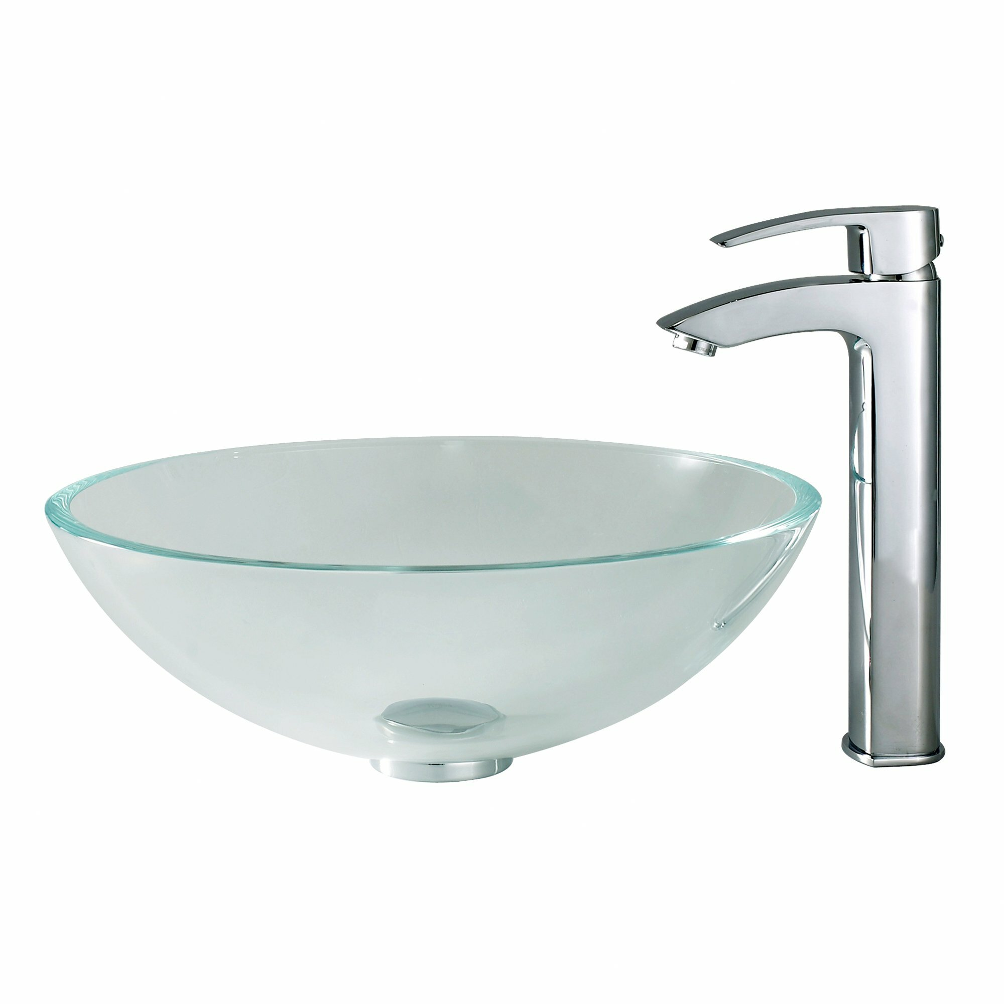 Kraus Crystal Clear Glass Vessel Sink And Visio Faucet Reviews Wayfair
