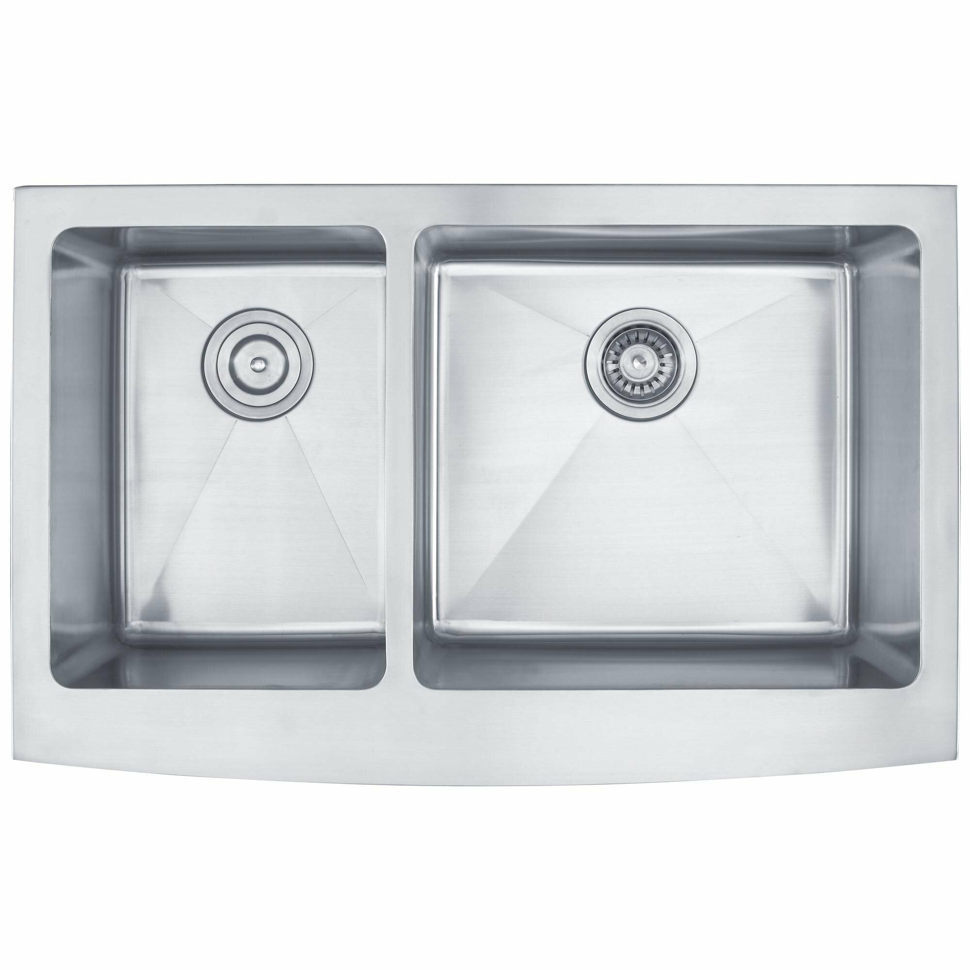"Kitchen Sink Set: Kraus 32.9"" X 20.75"" 6 Piece Farmhouse 60/40 Double Bowl"