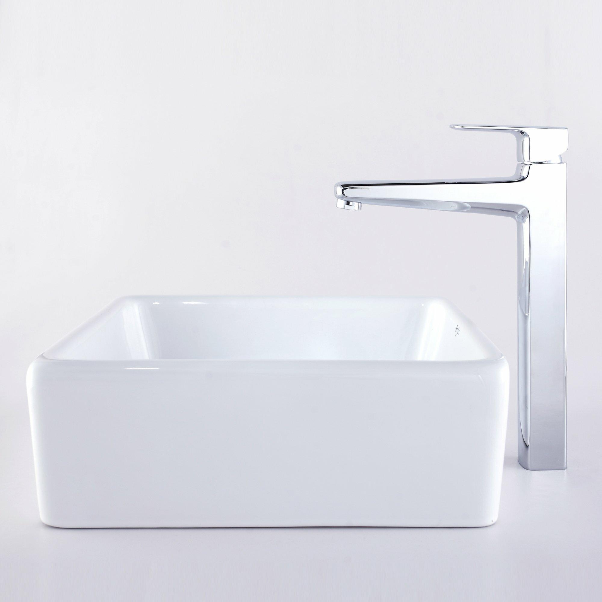 Kraus Virtus Square Ceramic Bathroom Sink With Faucet Wayfair