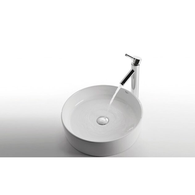 Kraus Ceramic Round Bathroom Sink With Sheven Single Lever