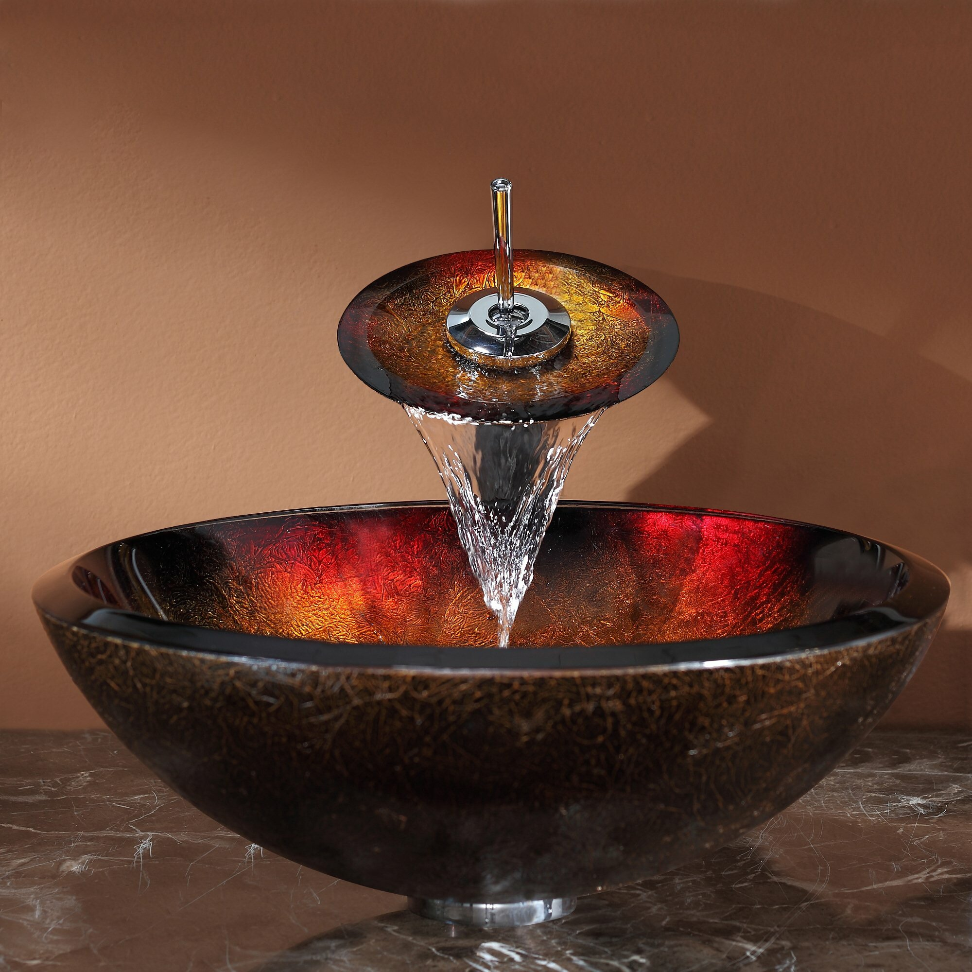 Kraus Mercury Vessel Bathroom Sink And Waterfall Faucet
