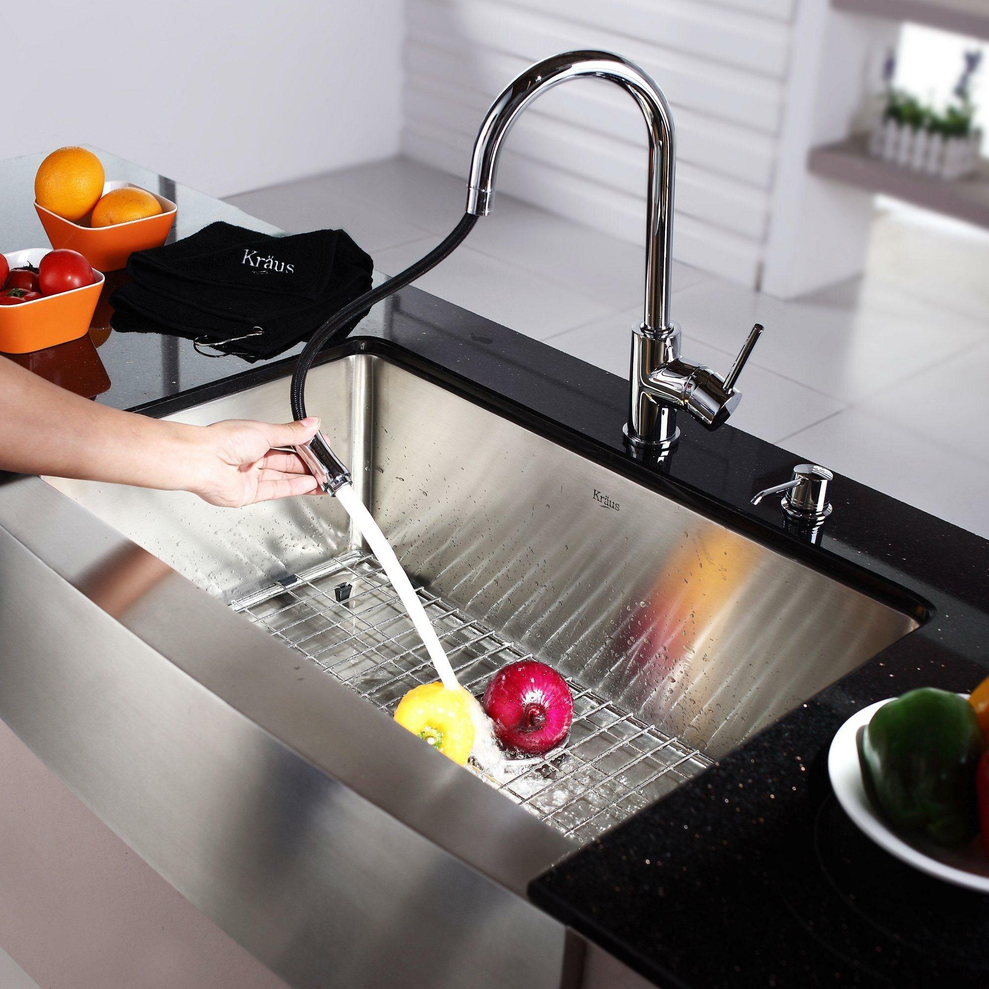 kraus x 20 farmhouse kitchen sink with faucet and soap dispenser reviews wayfair. Black Bedroom Furniture Sets. Home Design Ideas