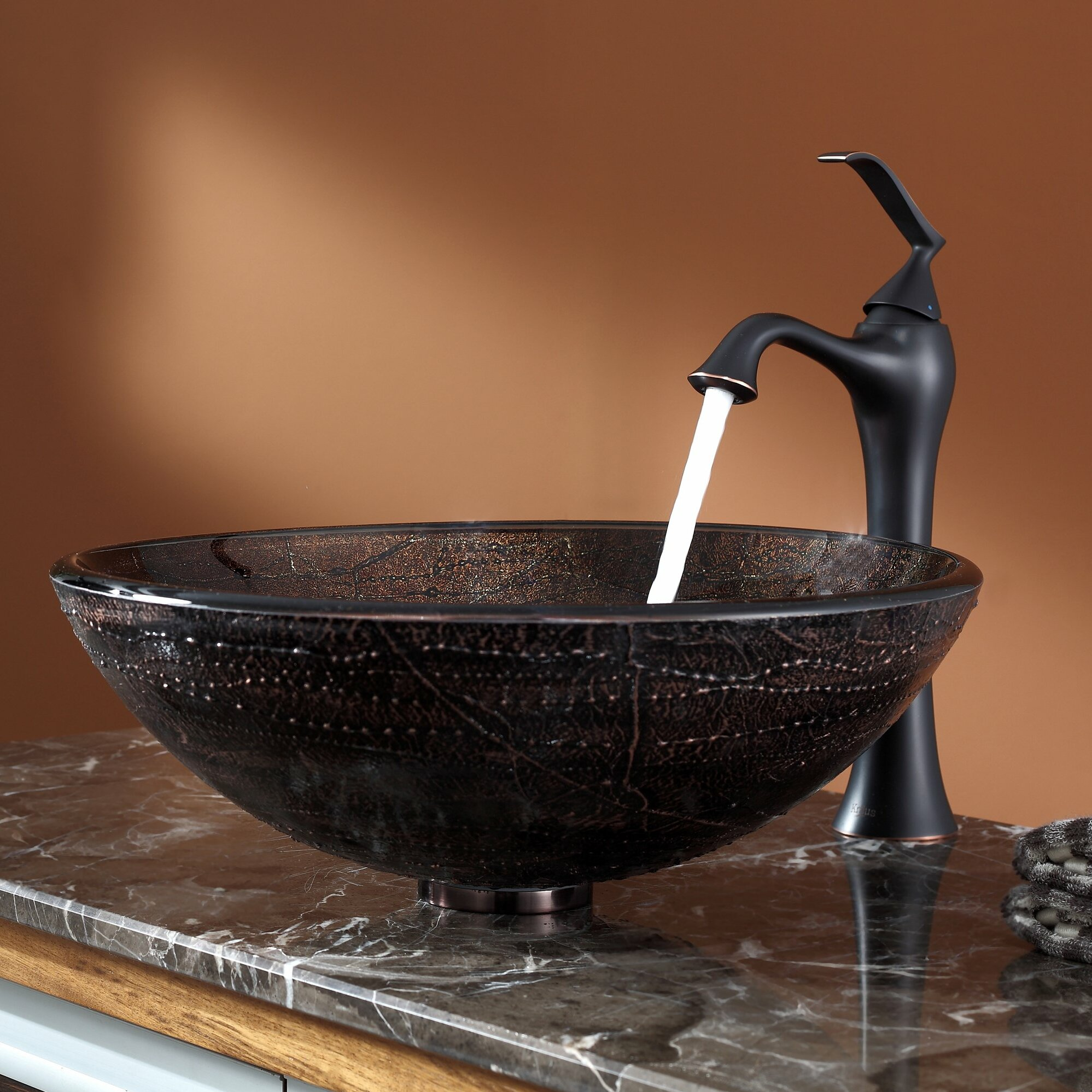 copper bathroom sinks kraus copper illusion glass vessel sink and ventus faucet 12513
